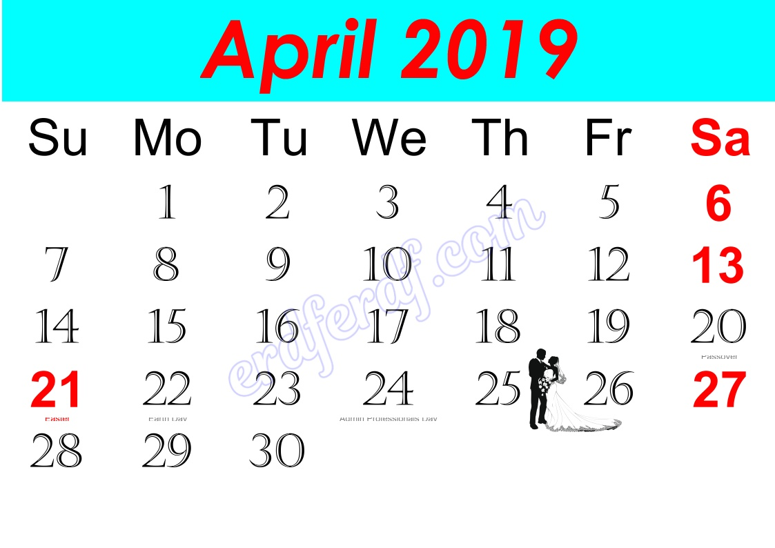 d April Free Printable Calendar 2019 Monthly