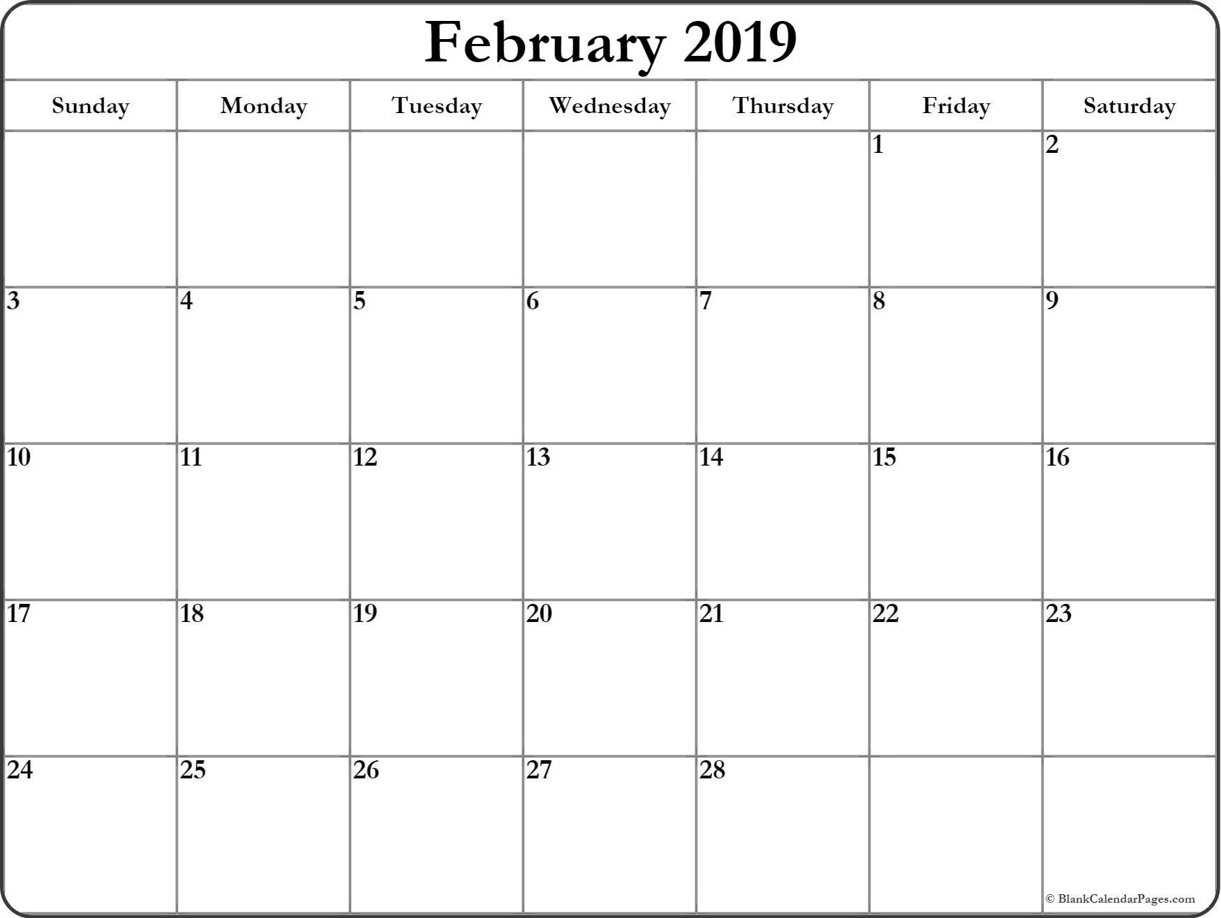 february 2019 free printable blank calendar collection::Blank Calendar 2019 Printable