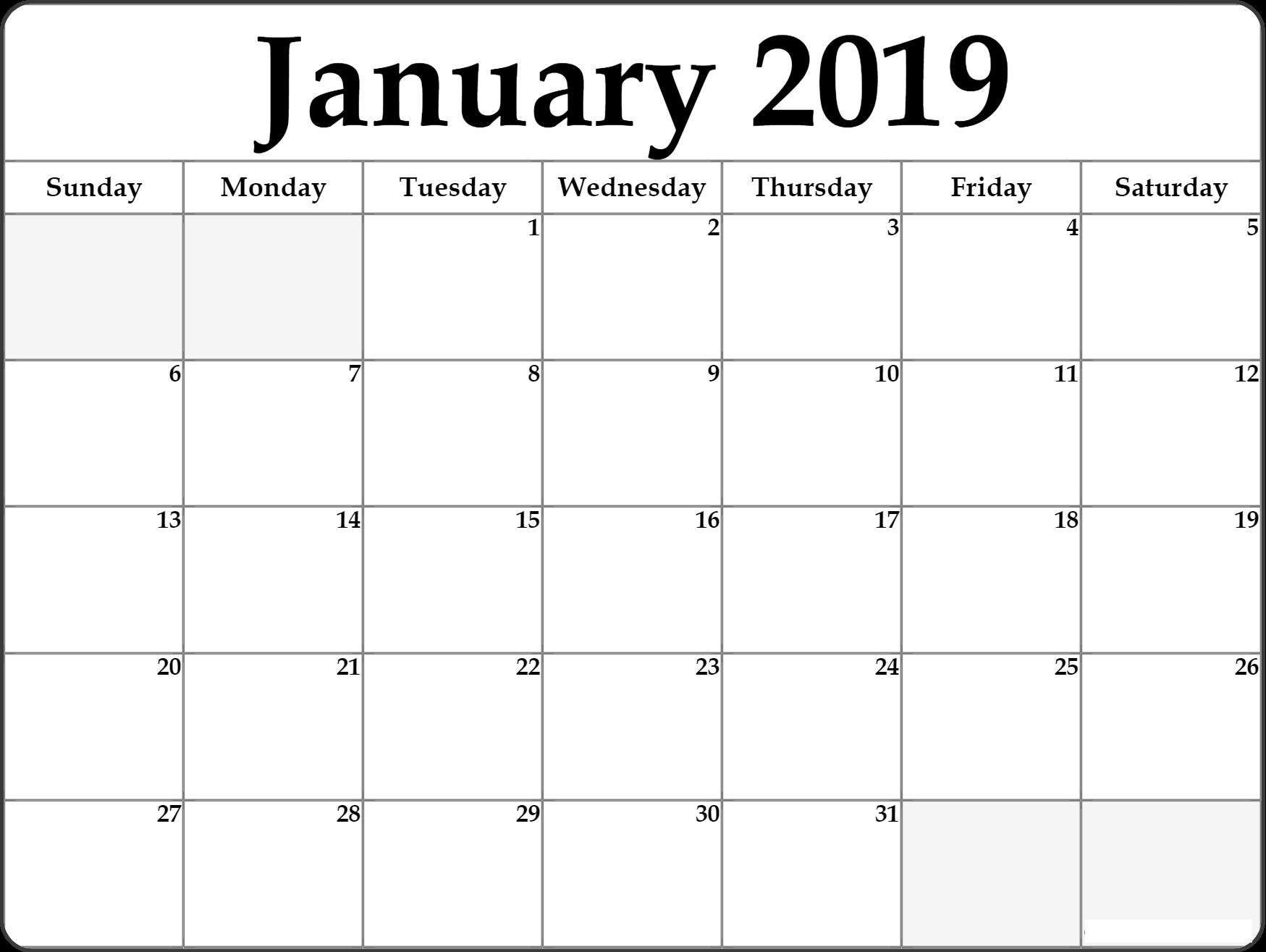 free january 2019 calendar template download::Blank Calendar 2019 Template