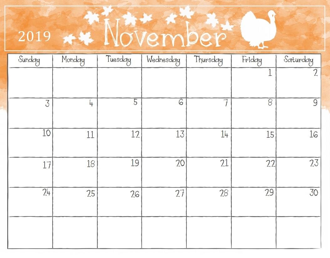 free november 2019 printable calendar templates free printable::Blank Calendar 2019 Printable