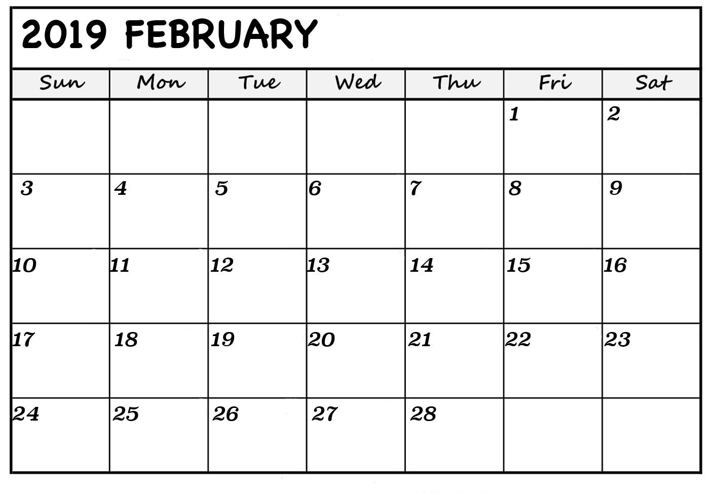 free printable february 2019 blank calendar::Blank Calendar 2019 Printable
