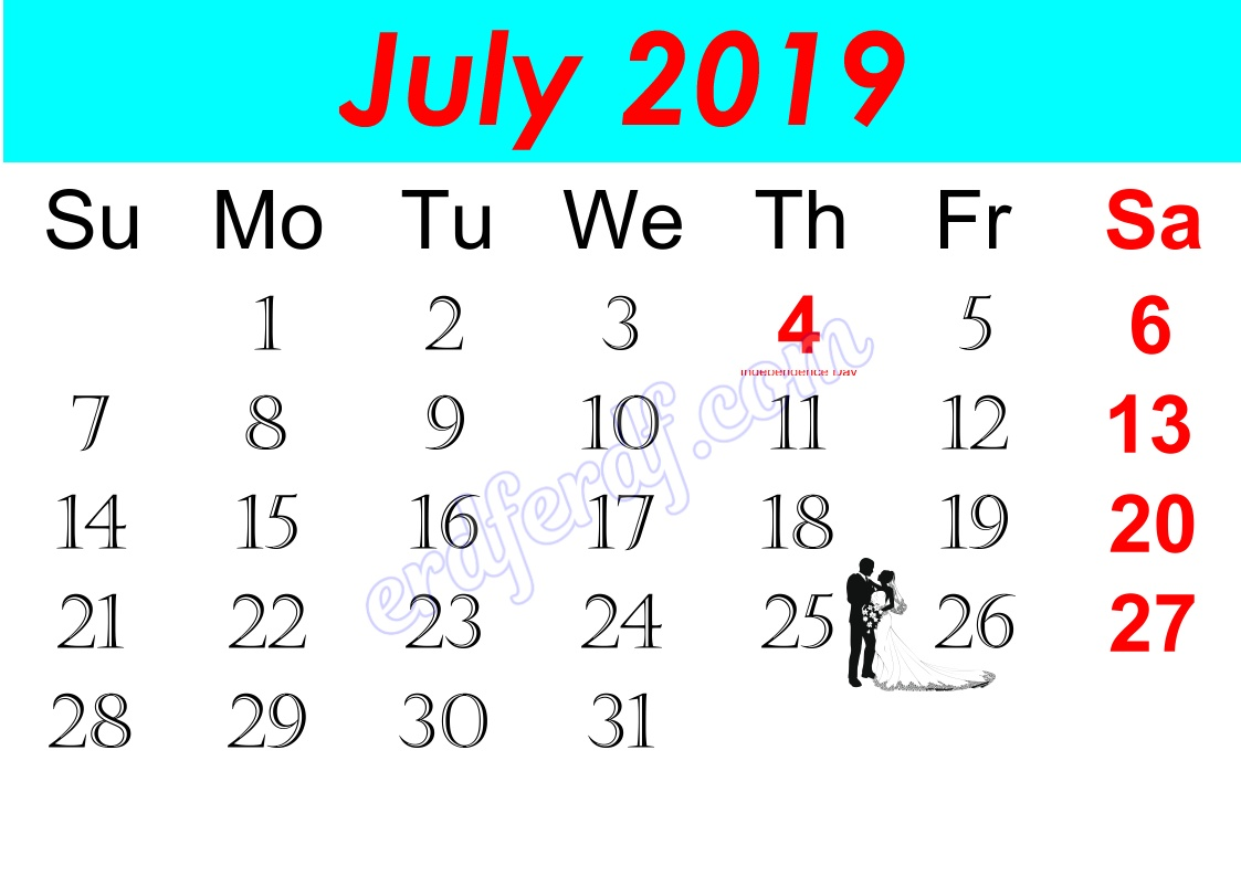 g July Free Printable Calendar 2019 Monthly
