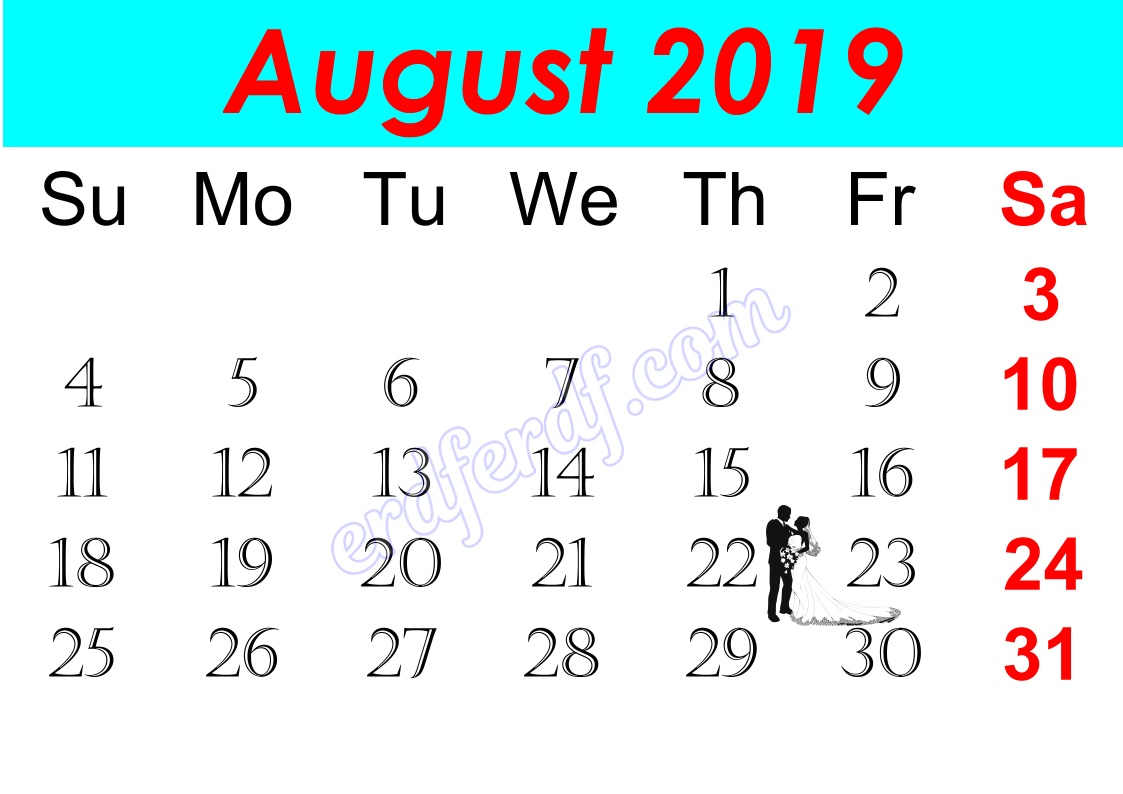 h August Free Printable Calendar 2019 Monthly
