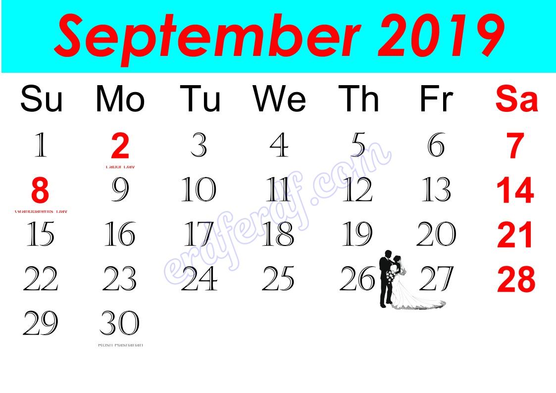 i September Free Printable Calendar 2019 Monthly