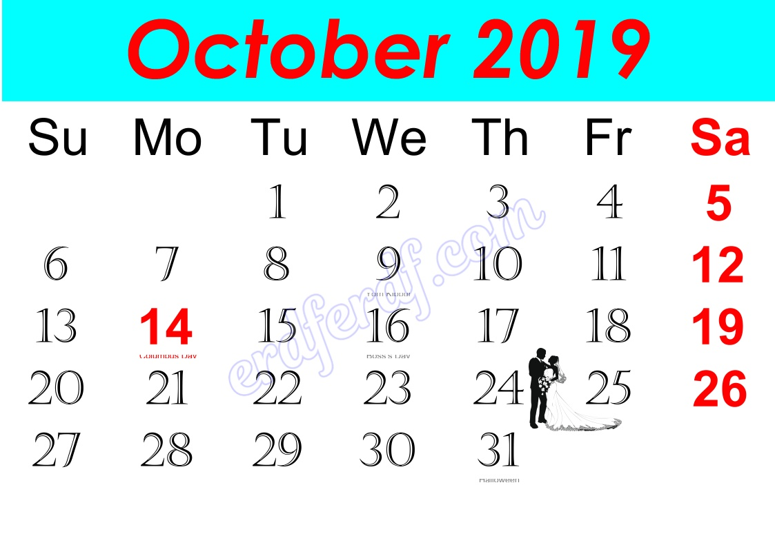 j October Free Printable Calendar 2019 Monthly