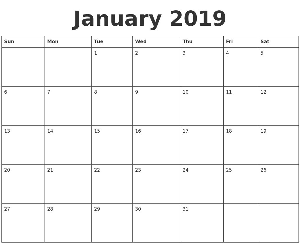 january 2019 blank calendar template::Blank Calendar 2019 Template