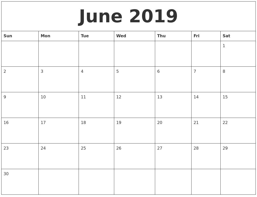 june 2019 blank monthly calendar template::Blank Calendar 2019 Template