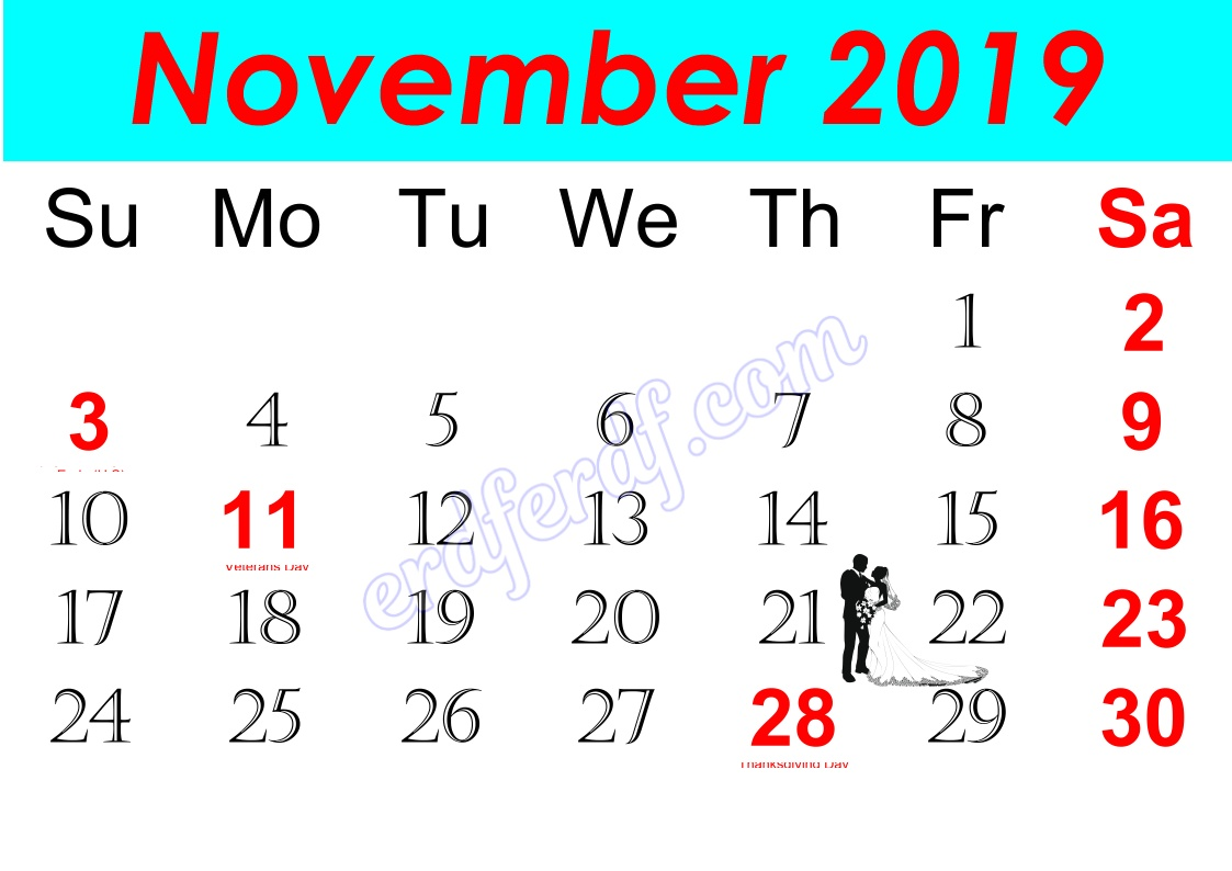 k November Free Printable Calendar 2019 Monthly