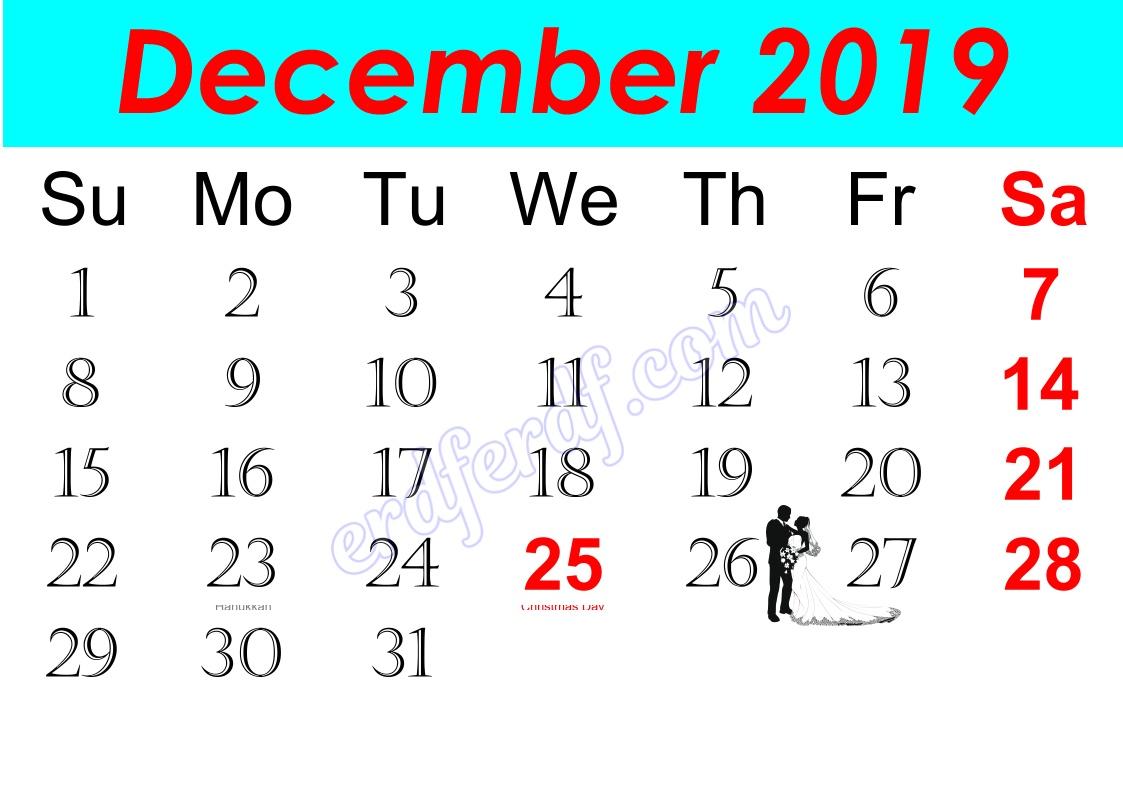 l December Free Printable Calendar 2019 Monthly