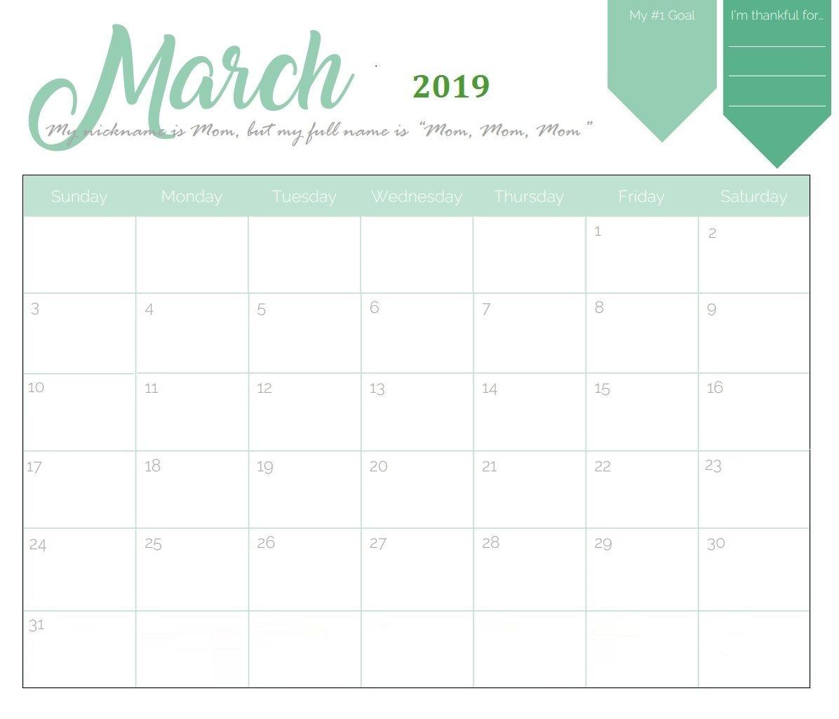 march 2019 printable calendar template print free::Blank Calendar 2019 Printable