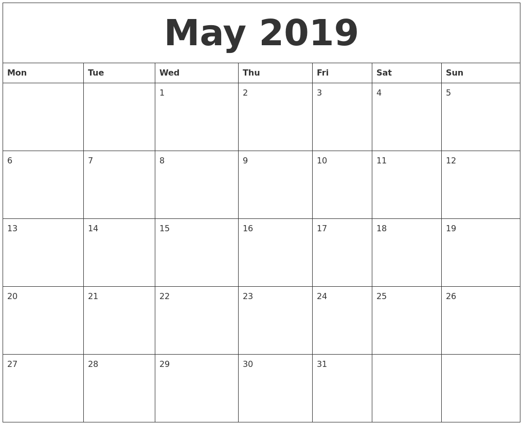 may 2019 free printable blank calendar::Blank Calendar 2019 Printable