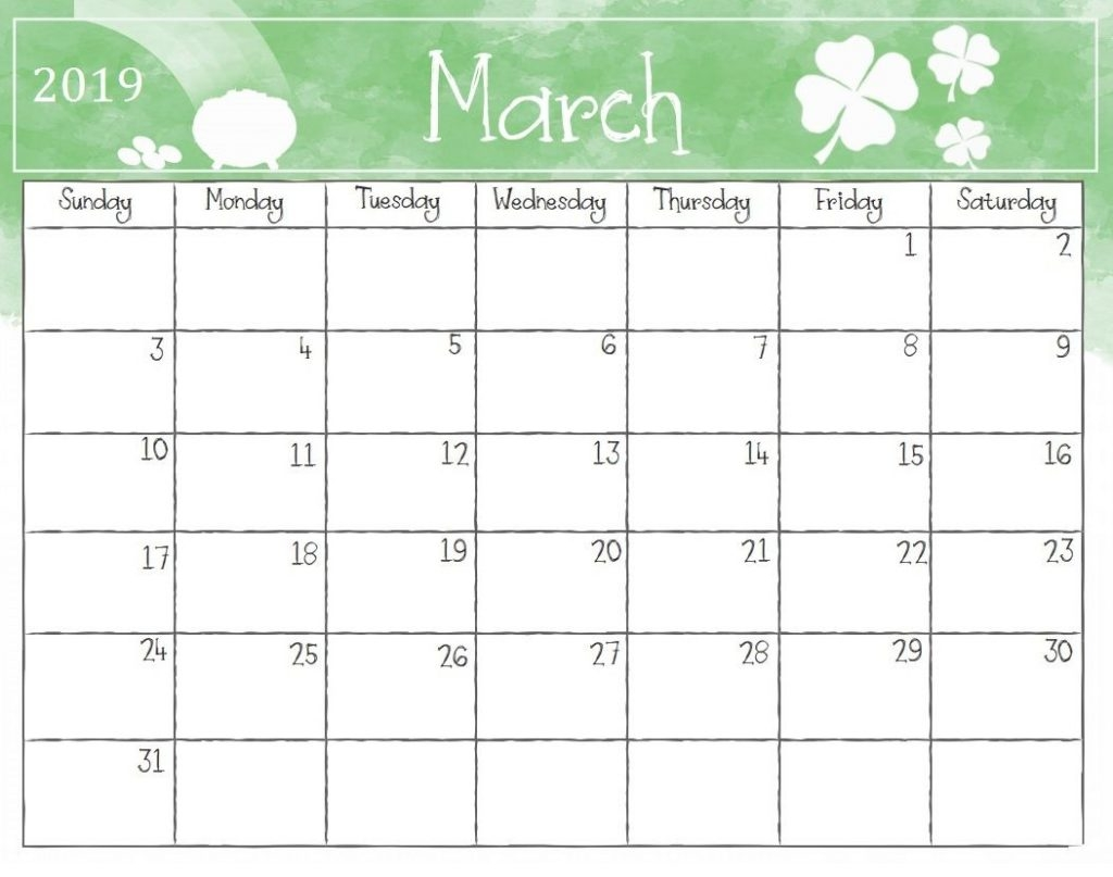 printable free march 2019 calendar template download january::Blank Calendar 2019 Template