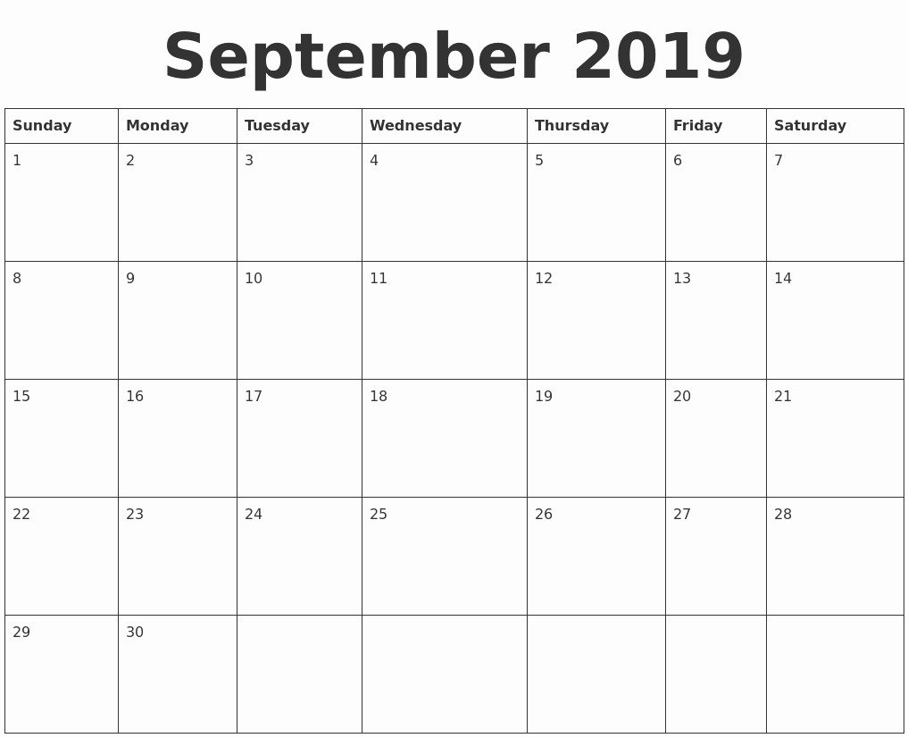 sample printable calendars 2019 september 2019 blank calendar template::Blank Calendar 2019 Template