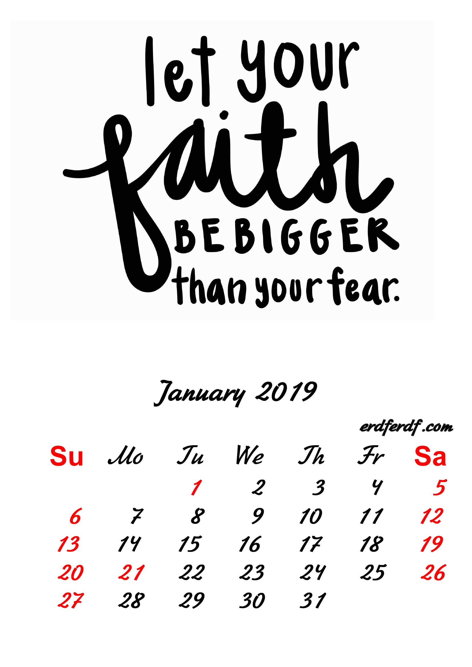 1 January 2019 Inspirational Quotes Pprintable Calendar