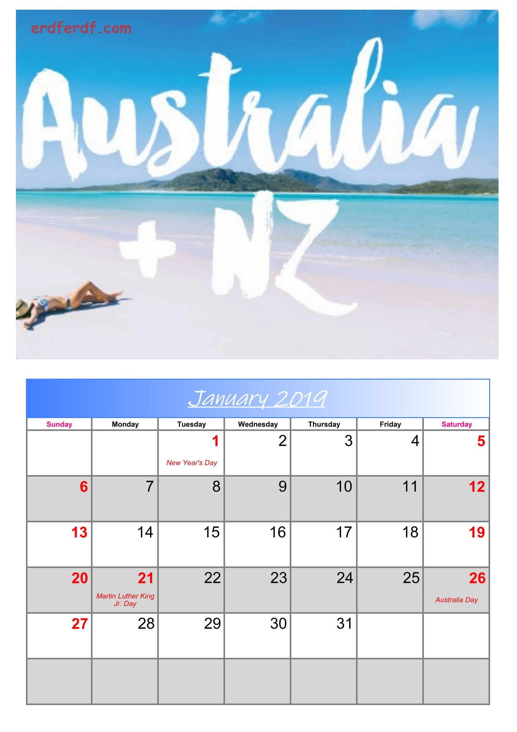 1 January Australia Calendar 2019 With Holidays