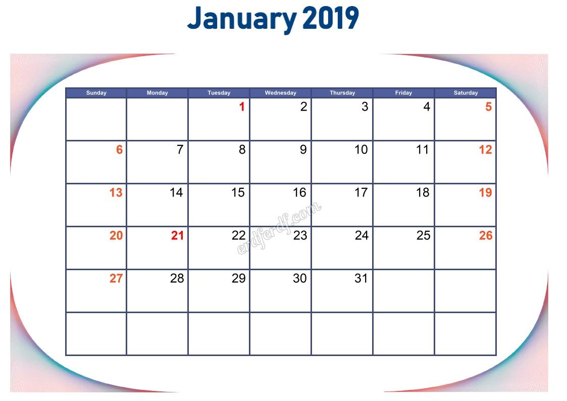 1 January Blank Calendar 2019 To Print