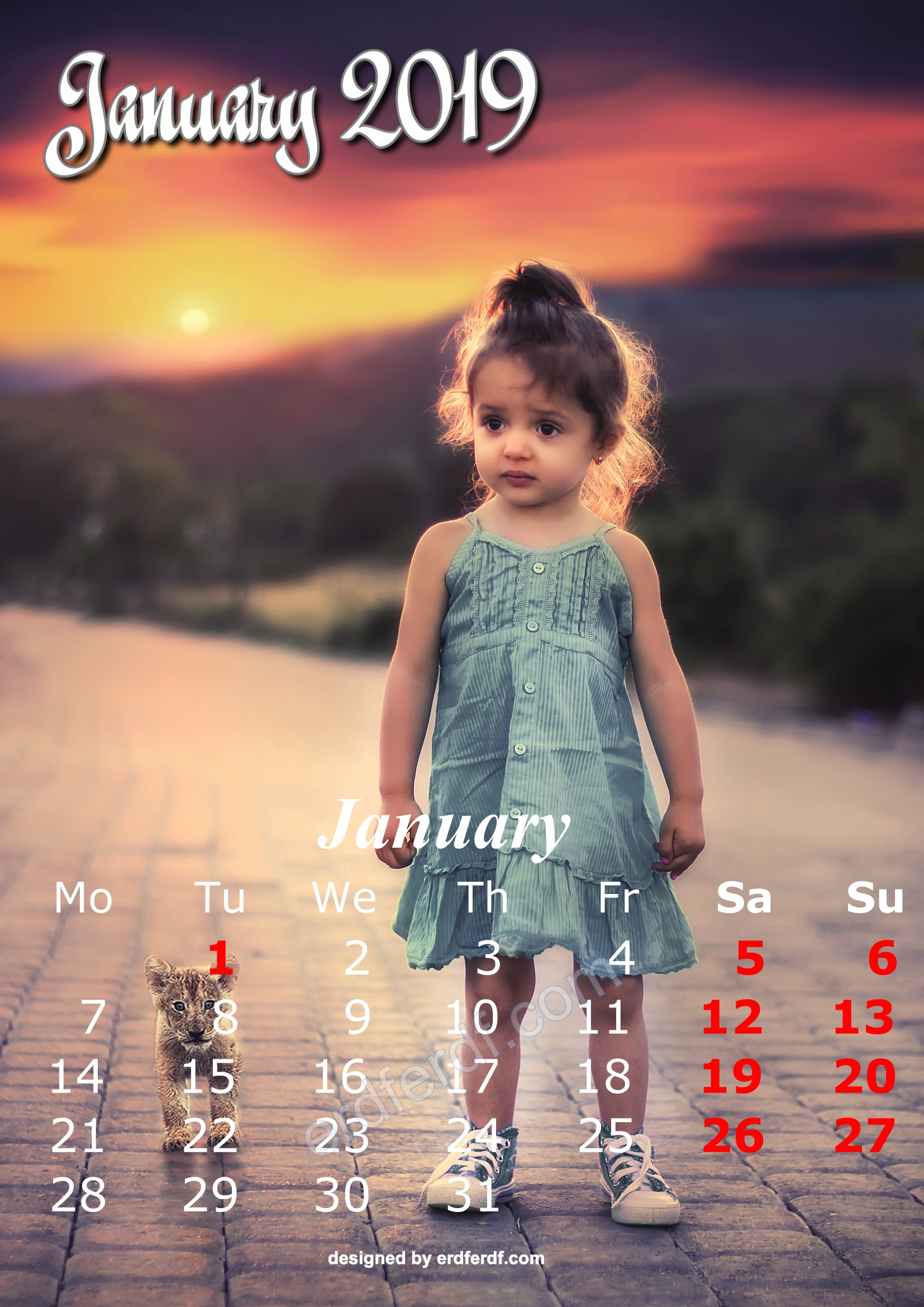 1 January Cute Kids Calendar 2019 Printable Free Design