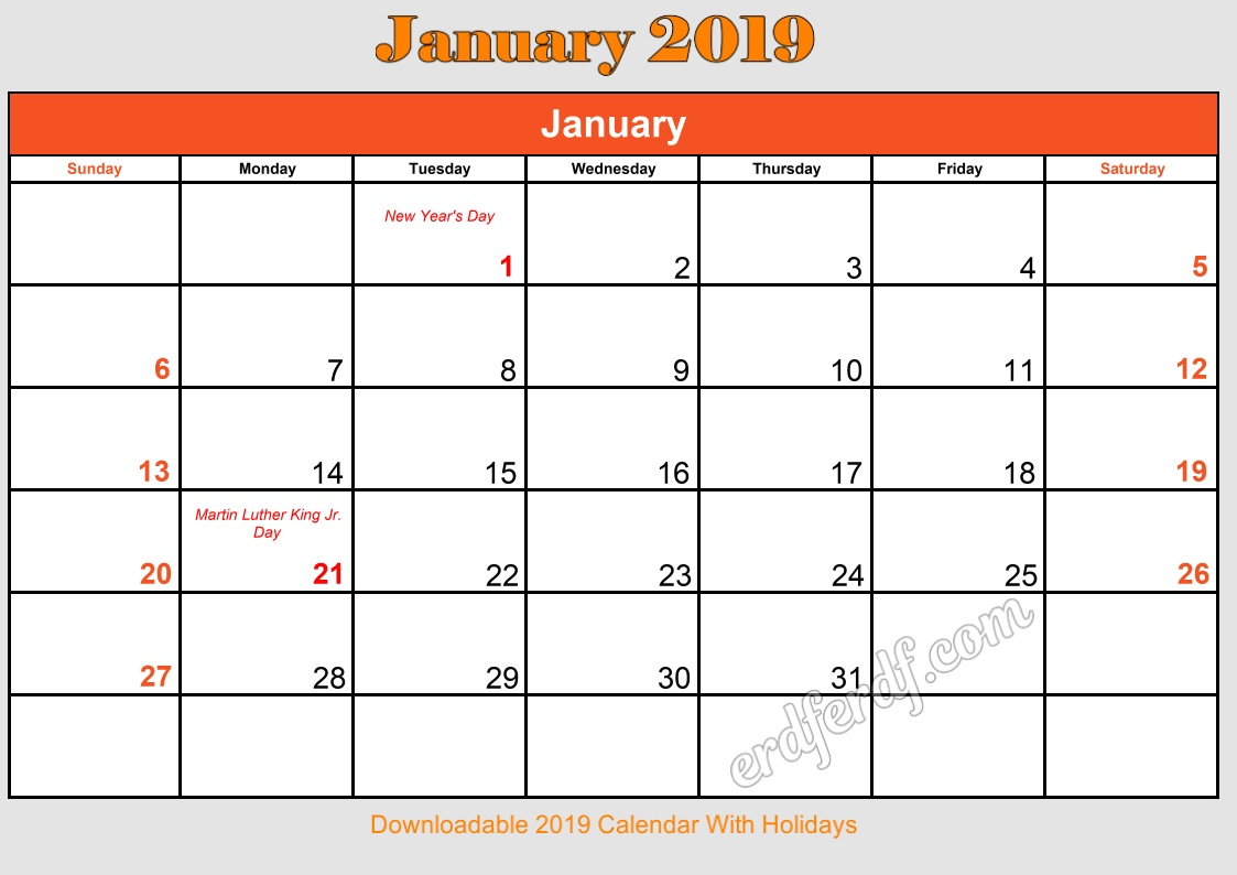 1 January Downloadable 2019 Calendar With Holidays