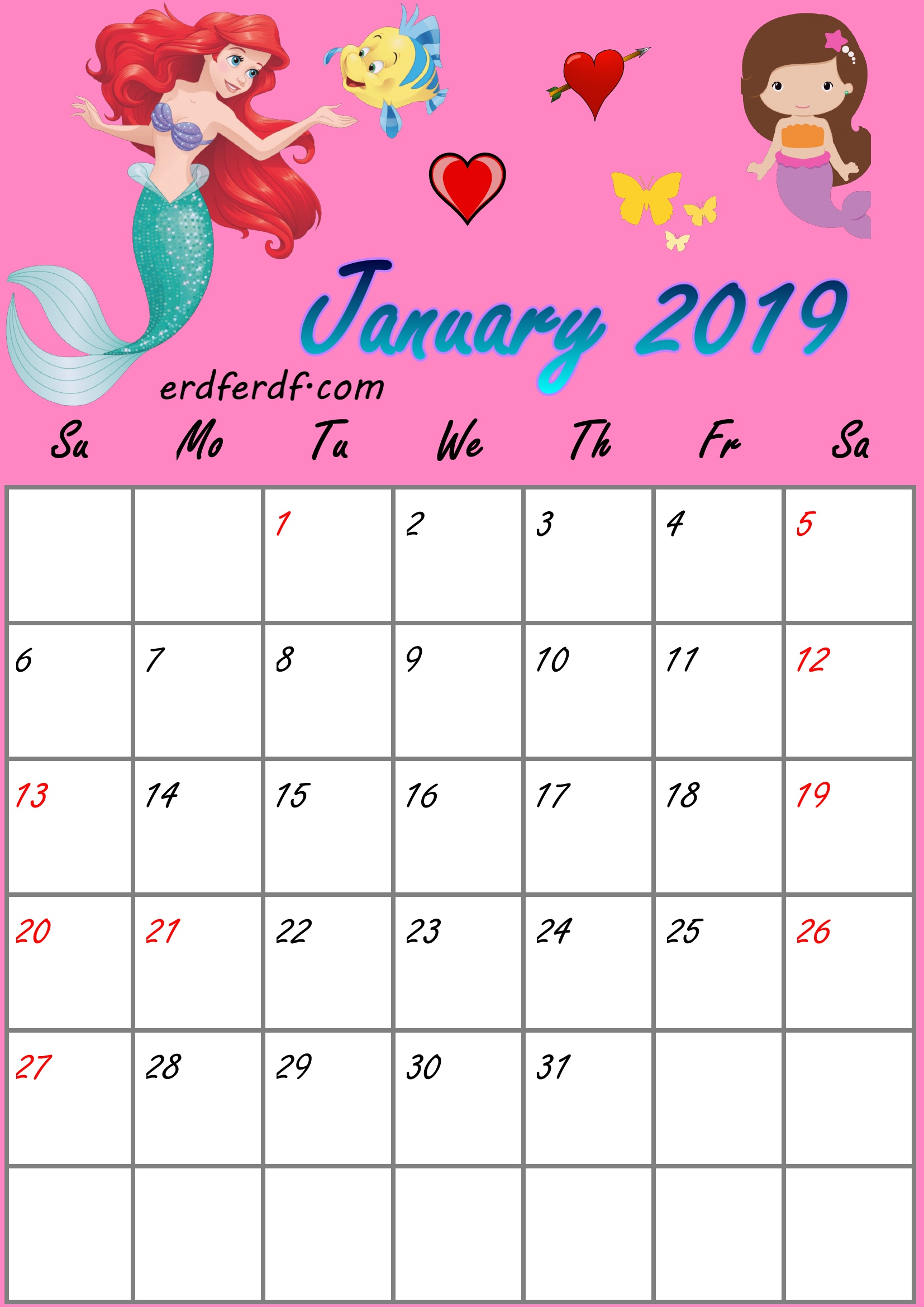 1 January Little Mermaid Monthly Calendar 2019 Free