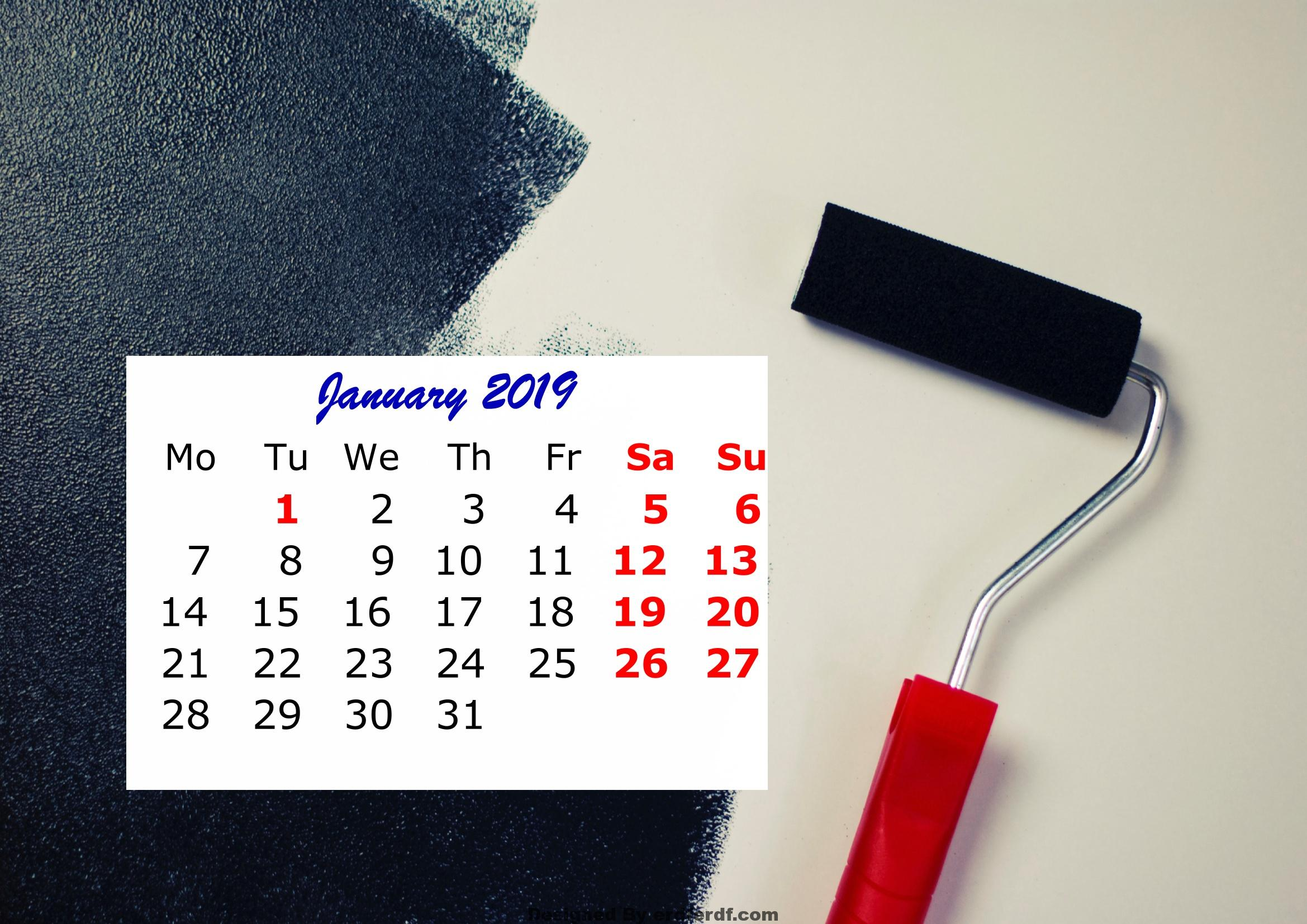 1 January Monthly 2019 Calendar Beautiful Painting Template