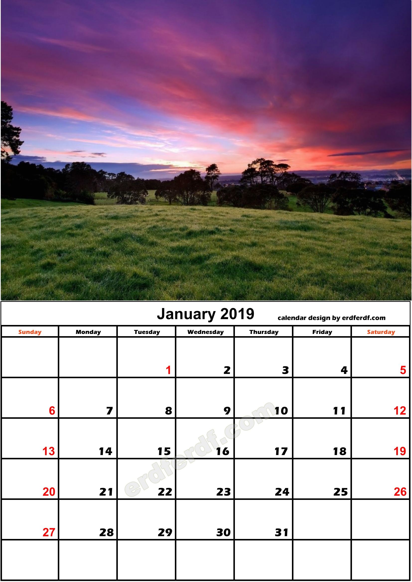 1 January Nature Calendar Monthly 2019 Free Download