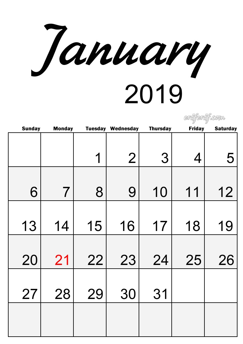 1 January Simple Elegance Calendar 2019 Beautiful Typography