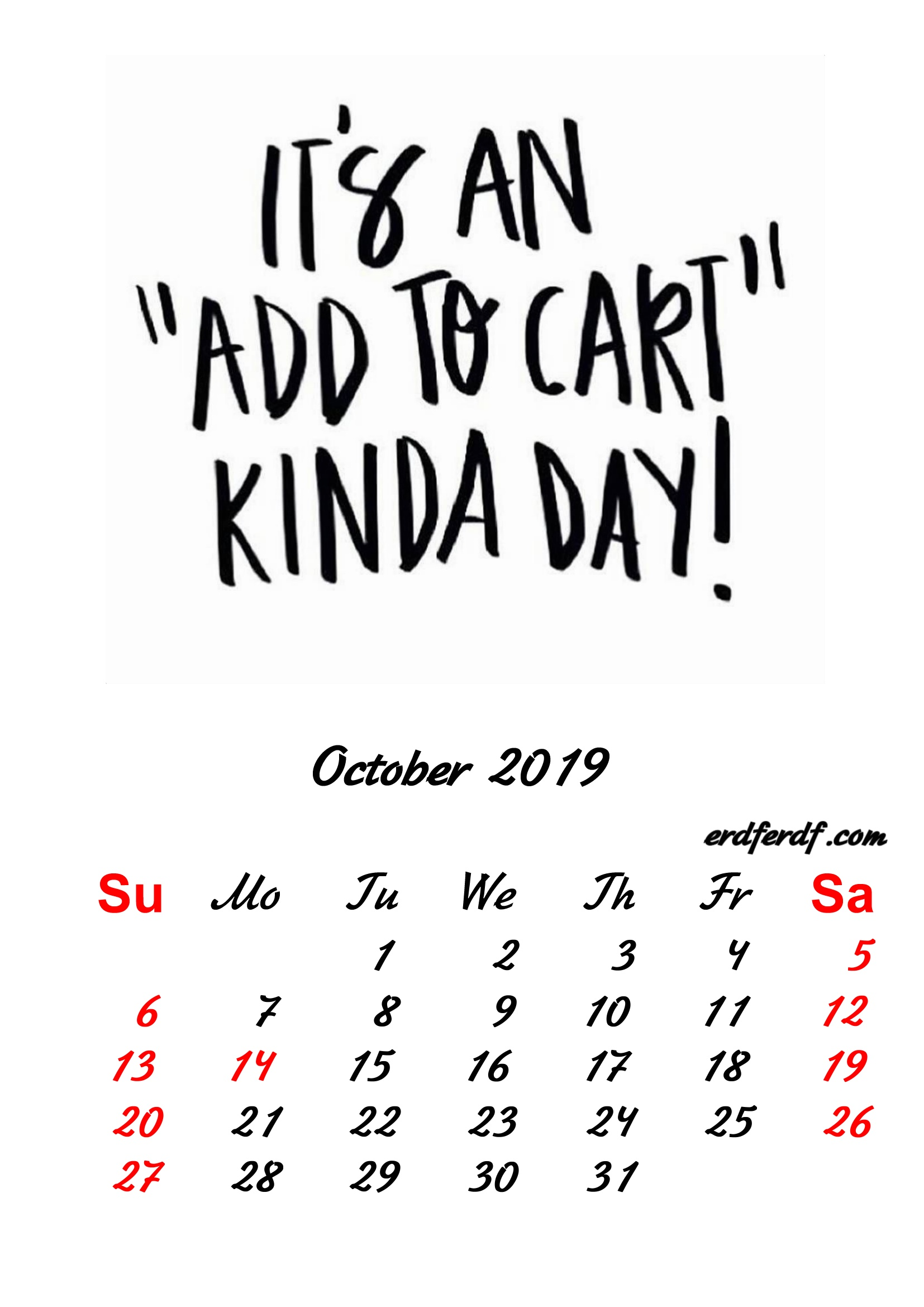 10 October 2019 Inspirational Quotes Pprintable Calendar