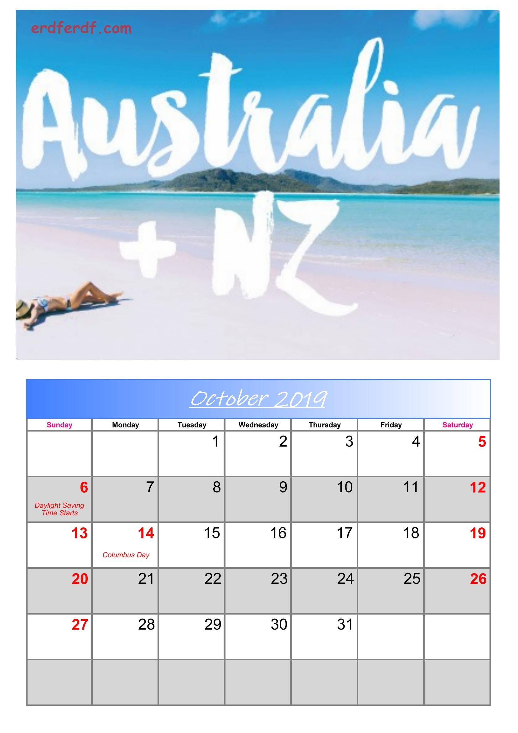10 October Australia Calendar 2019 With Holidays
