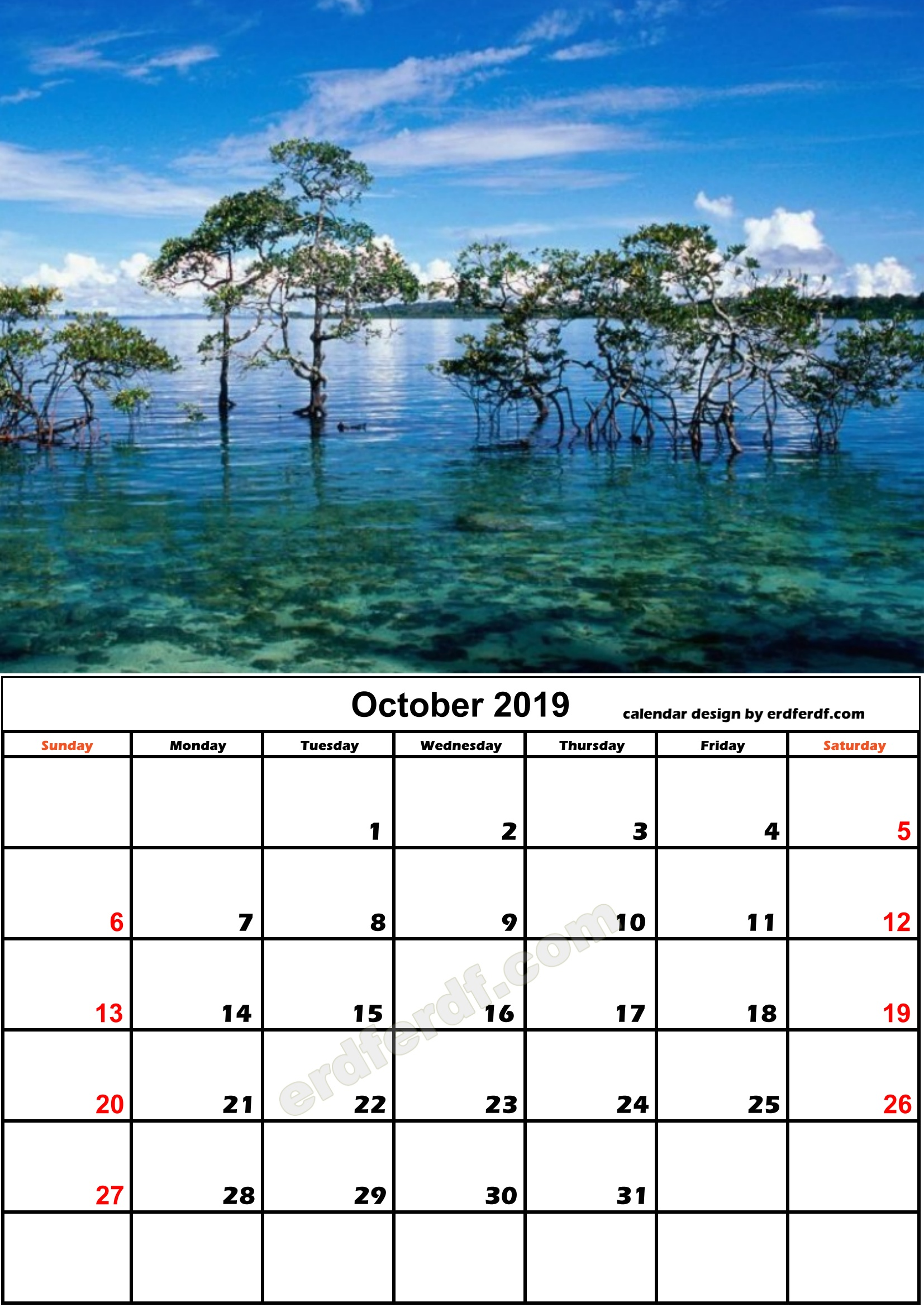 10 October Beach Nature Calendar Monthly 2019 Free Download