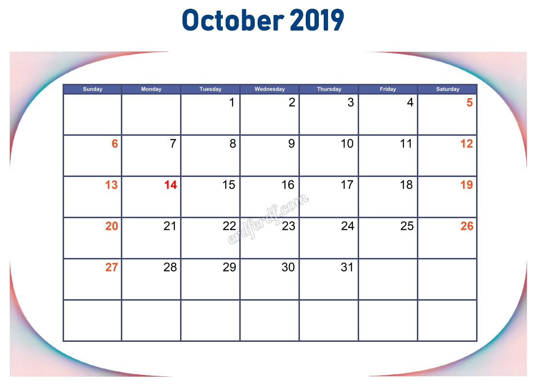 10 October Blank Calendar 2019 To Print