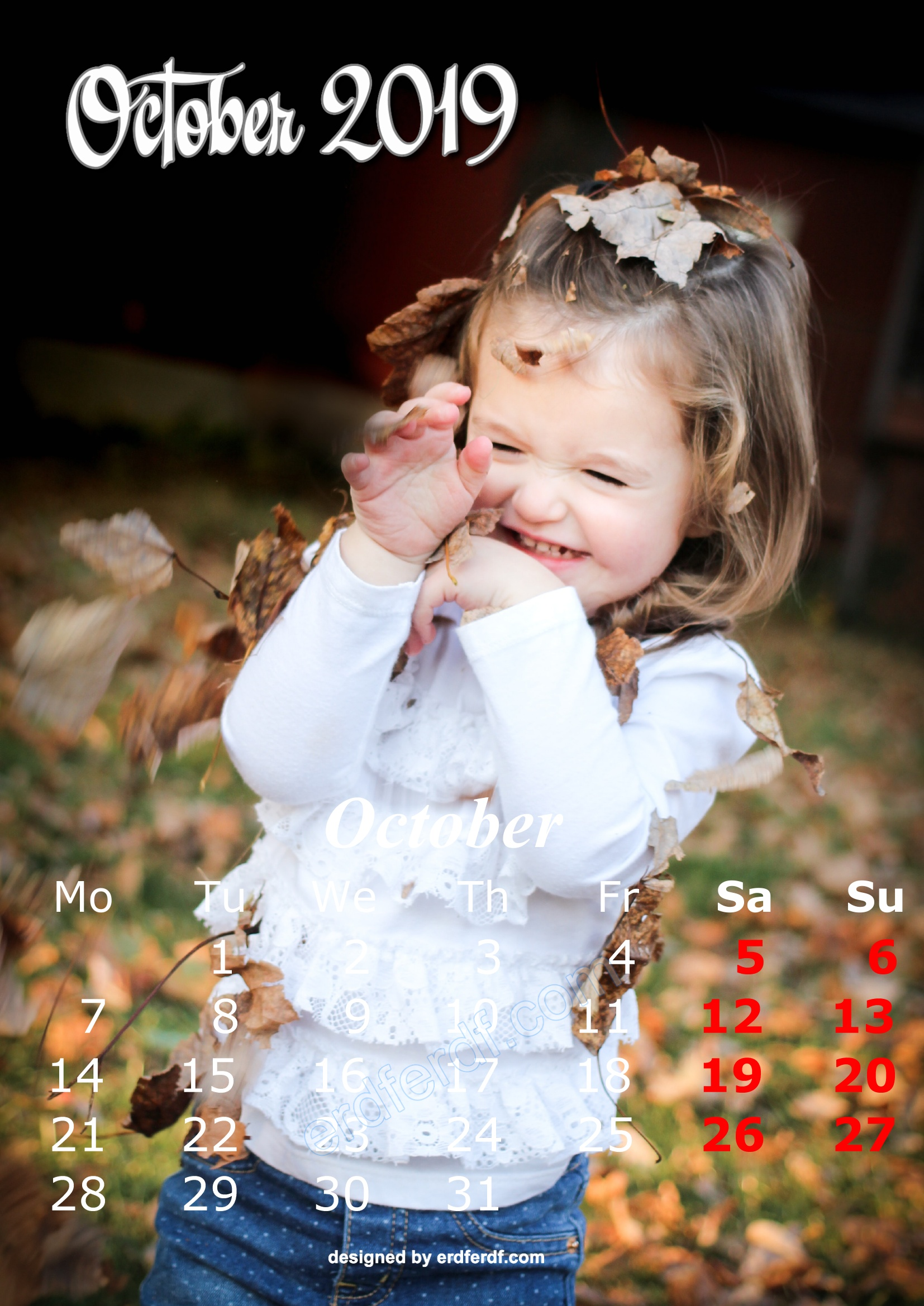 10 October Cute Kids Calendar 2019 Printable Free Design