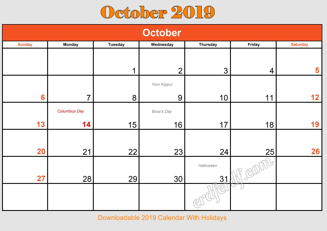 10 October Downloadable 2019 Calendar With Holidays