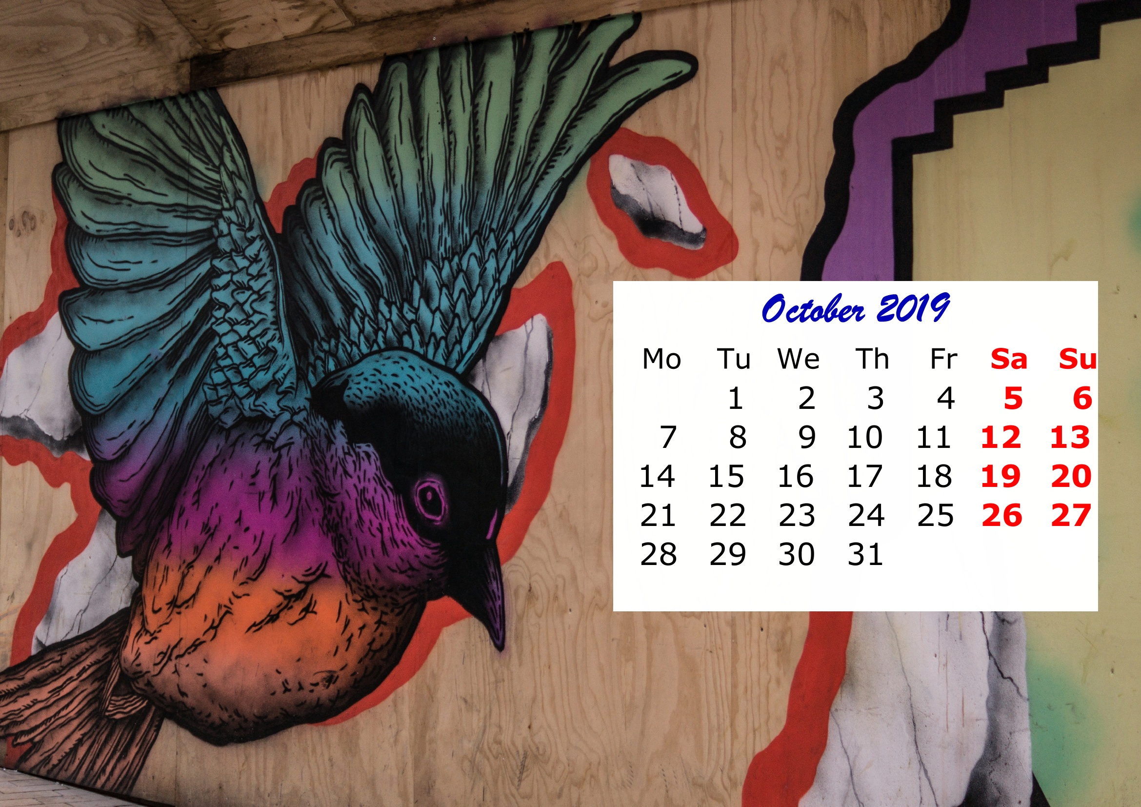 10 October Monthly 2019 Calendar Beautiful Painting Template