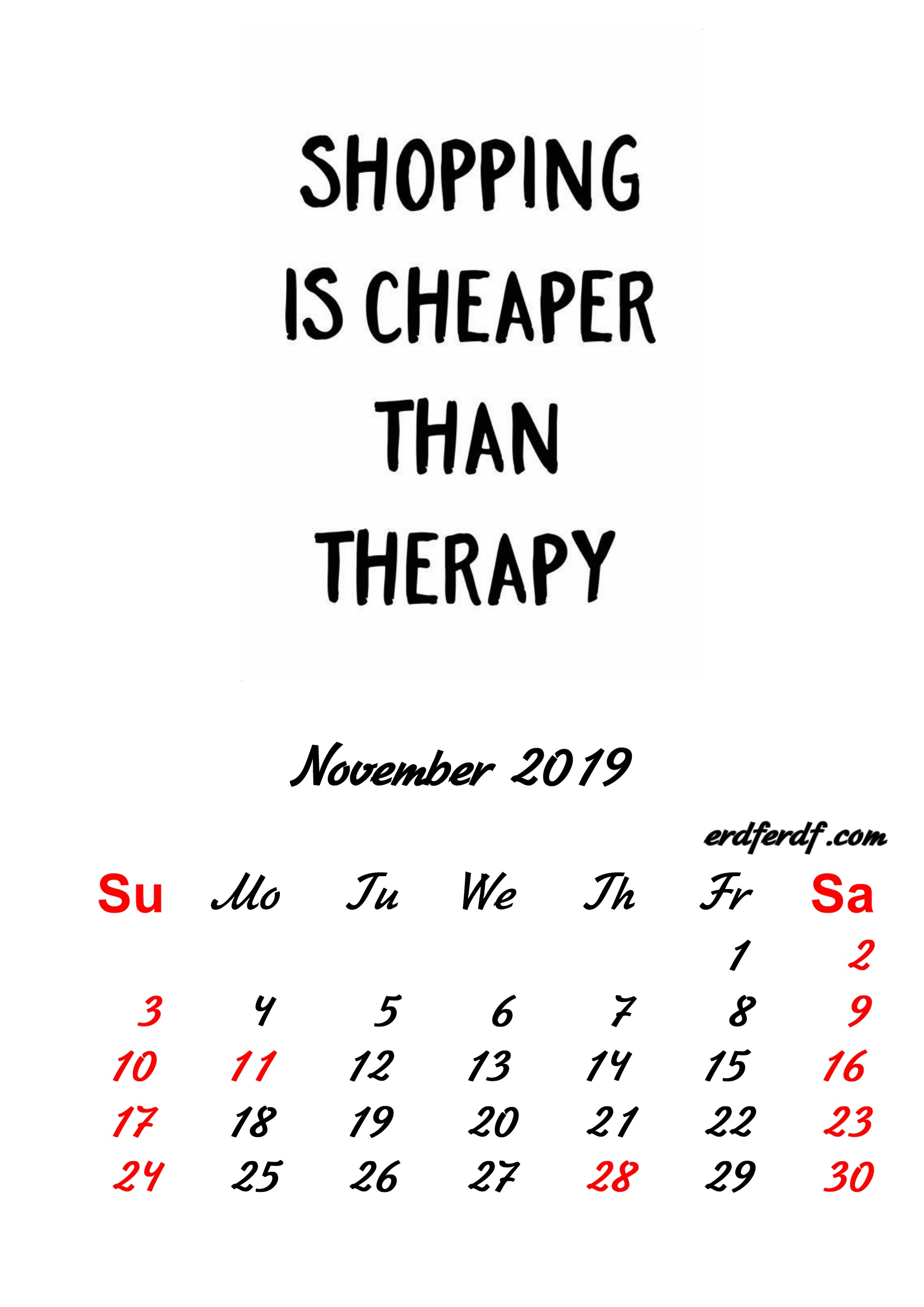 11 November 2019 Inspirational Quotes Pprintable Calendar
