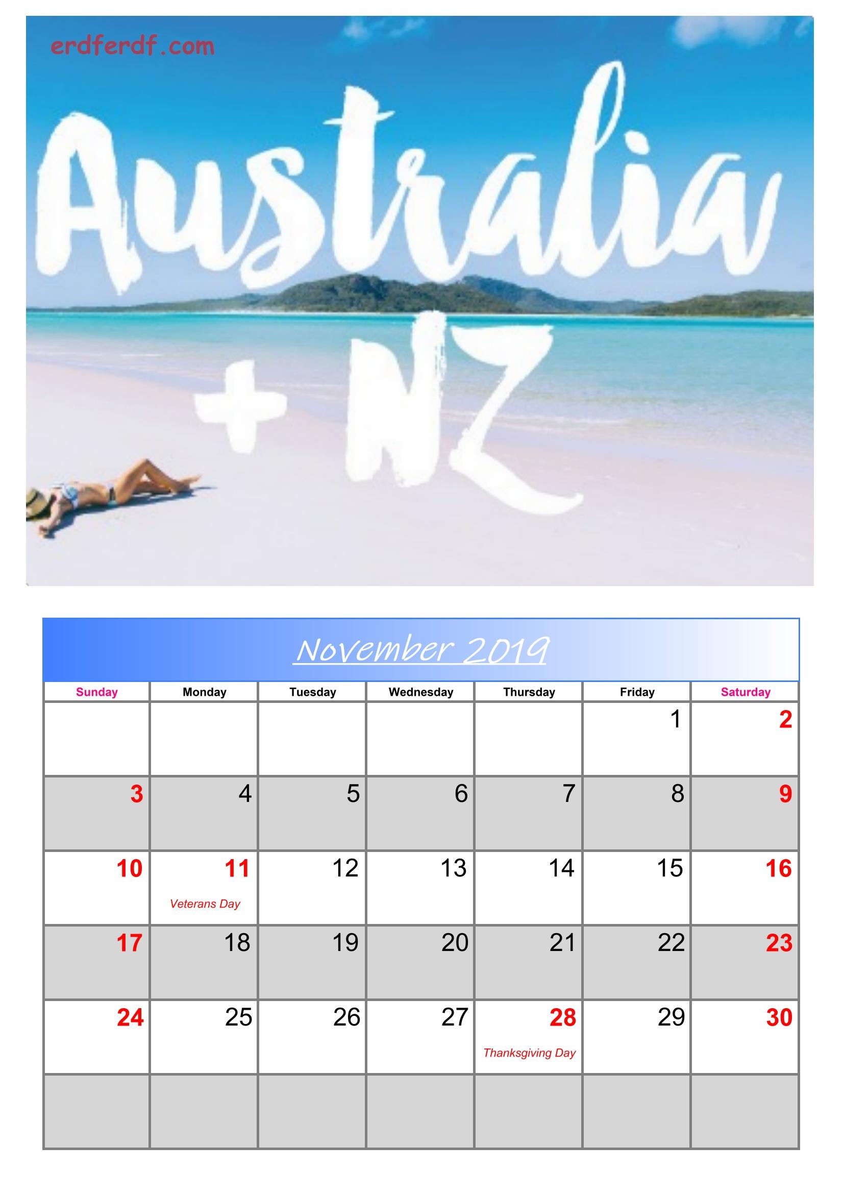 11 November Australia Calendar 2019 With Holidays
