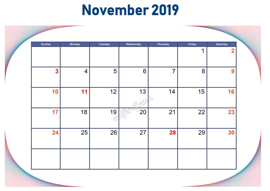 11 November Blank Calendar 2019 To Print