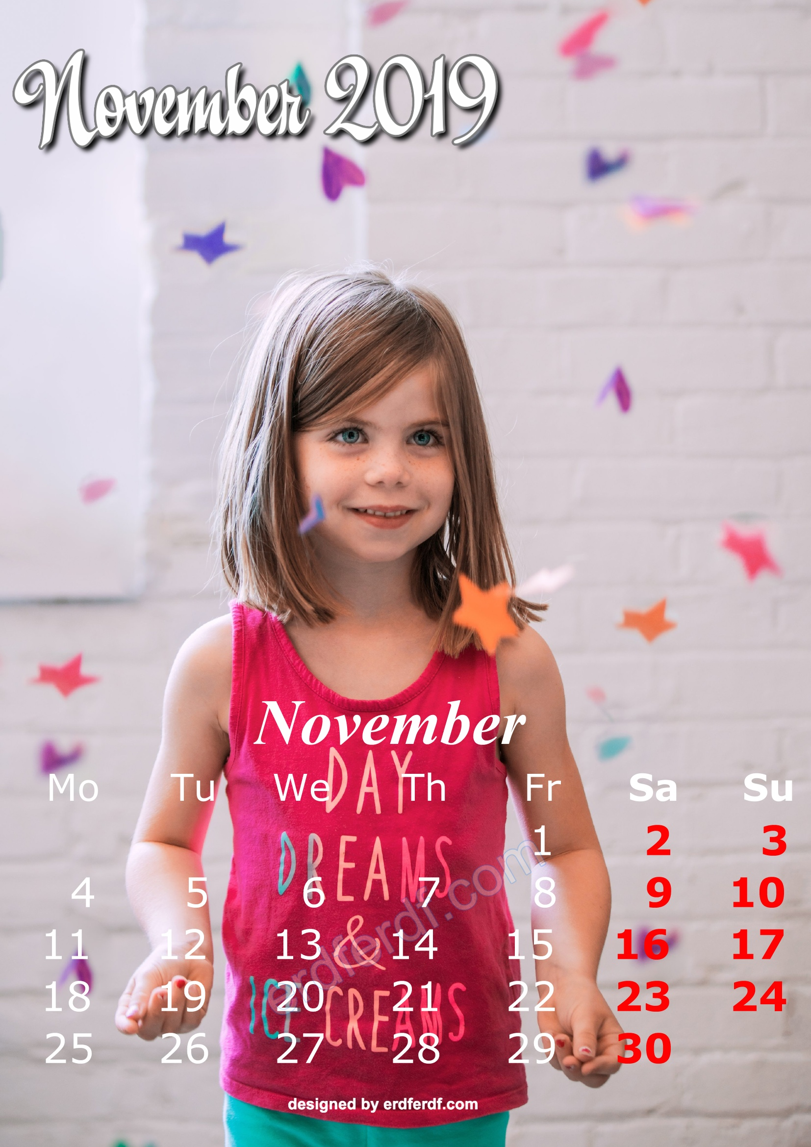 11 November Cute Kids Calendar 2019 Printable Free Design