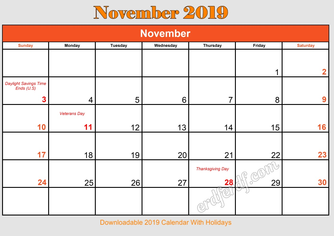 11 November Downloadable 2019 Calendar With Holidays