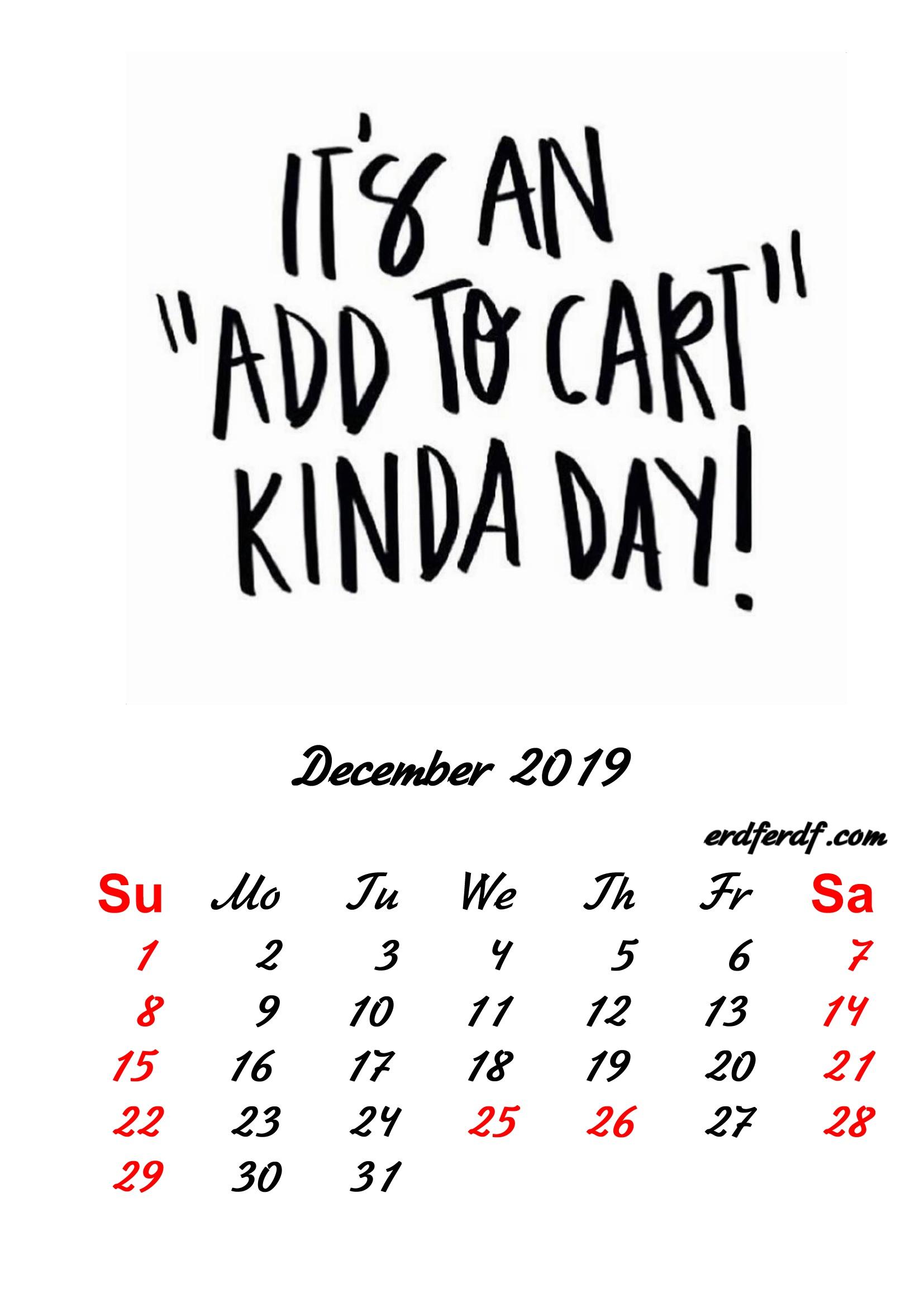 12 December 2019 Inspirational Quotes Pprintable Calendar