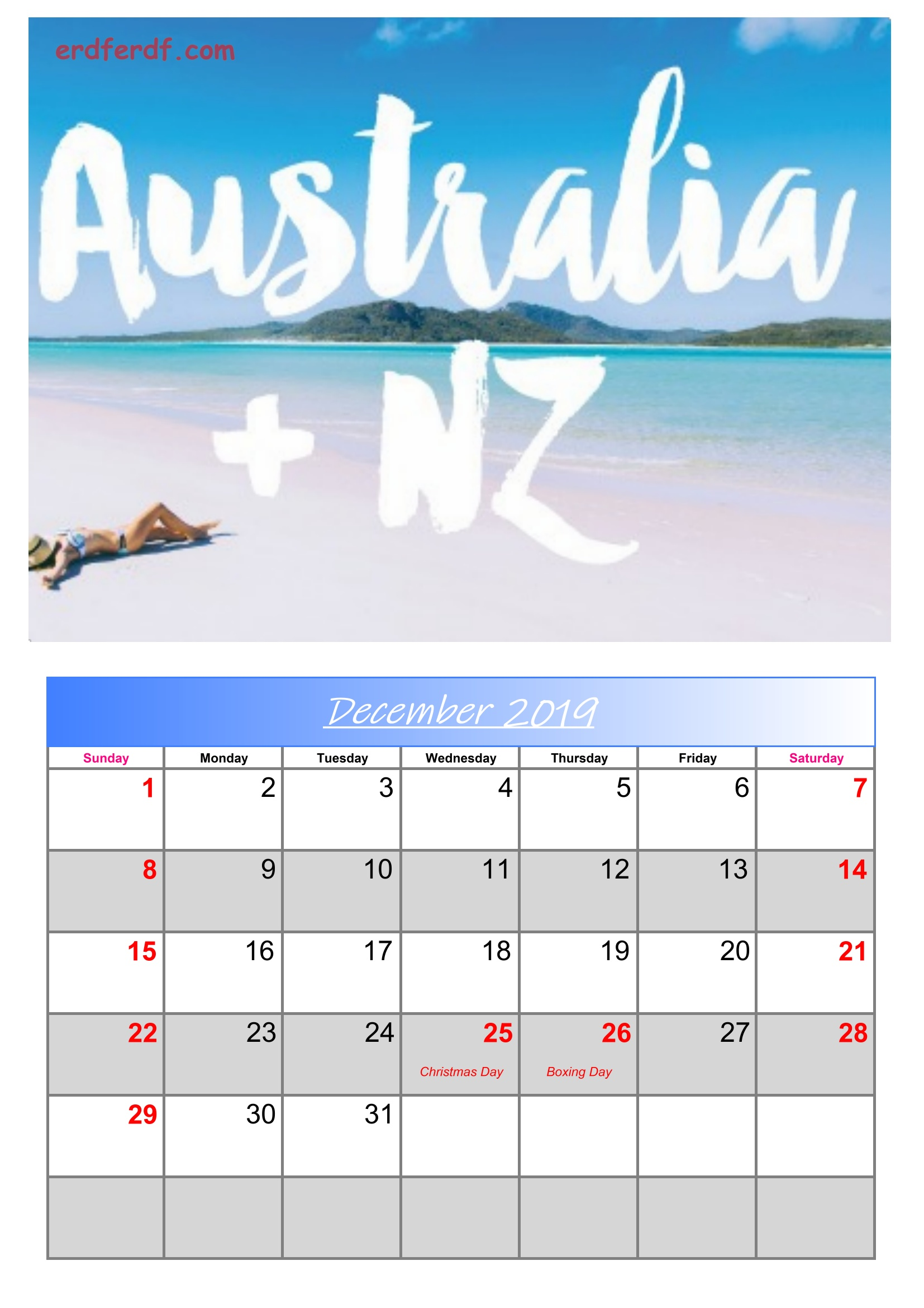 12 December Australia Calendar 2019 With Holidays