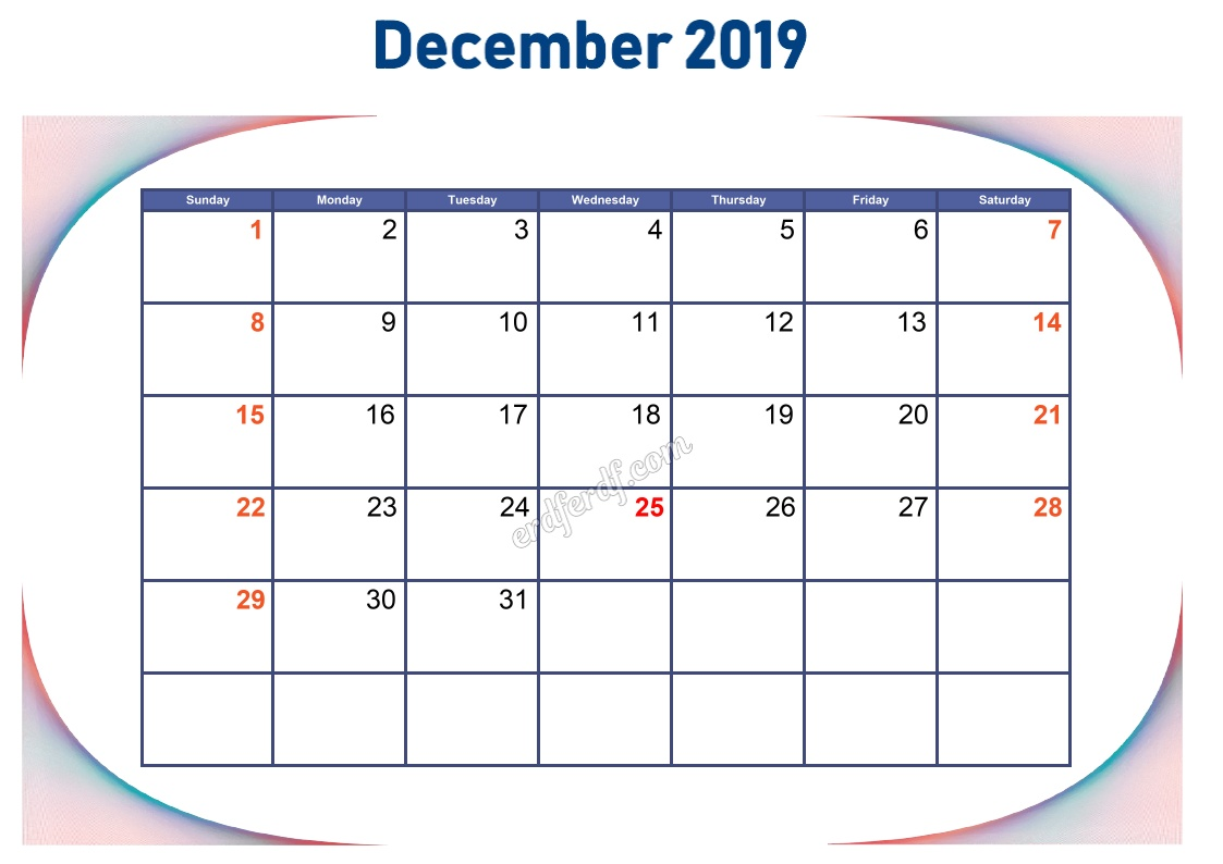 12 December Blank Calendar 2019 To Print