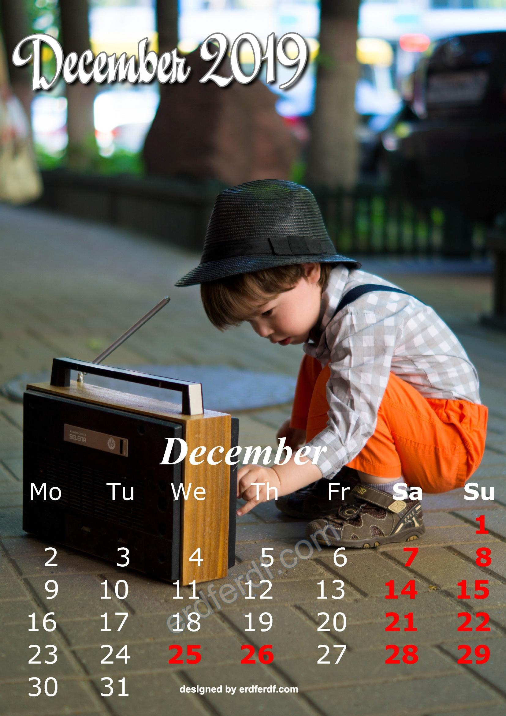12 December Cute Kids Calendar 2019 Printable Free Design
