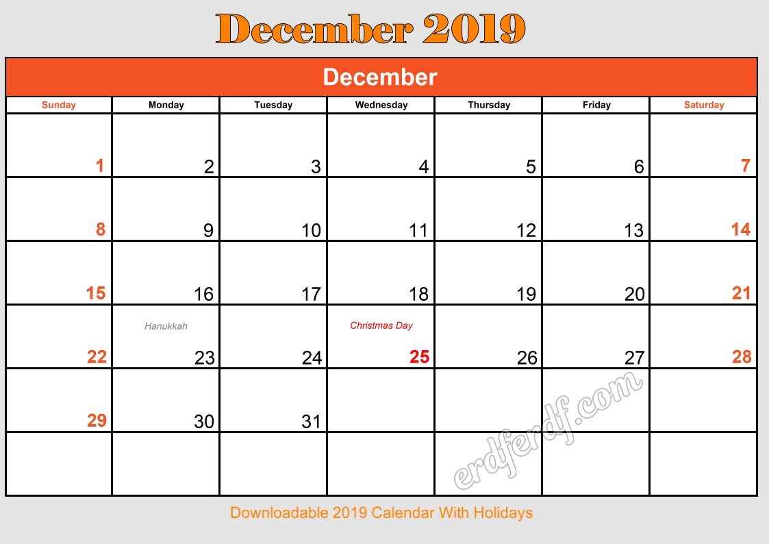 12 December Downloadable 2019 Calendar With Holidays
