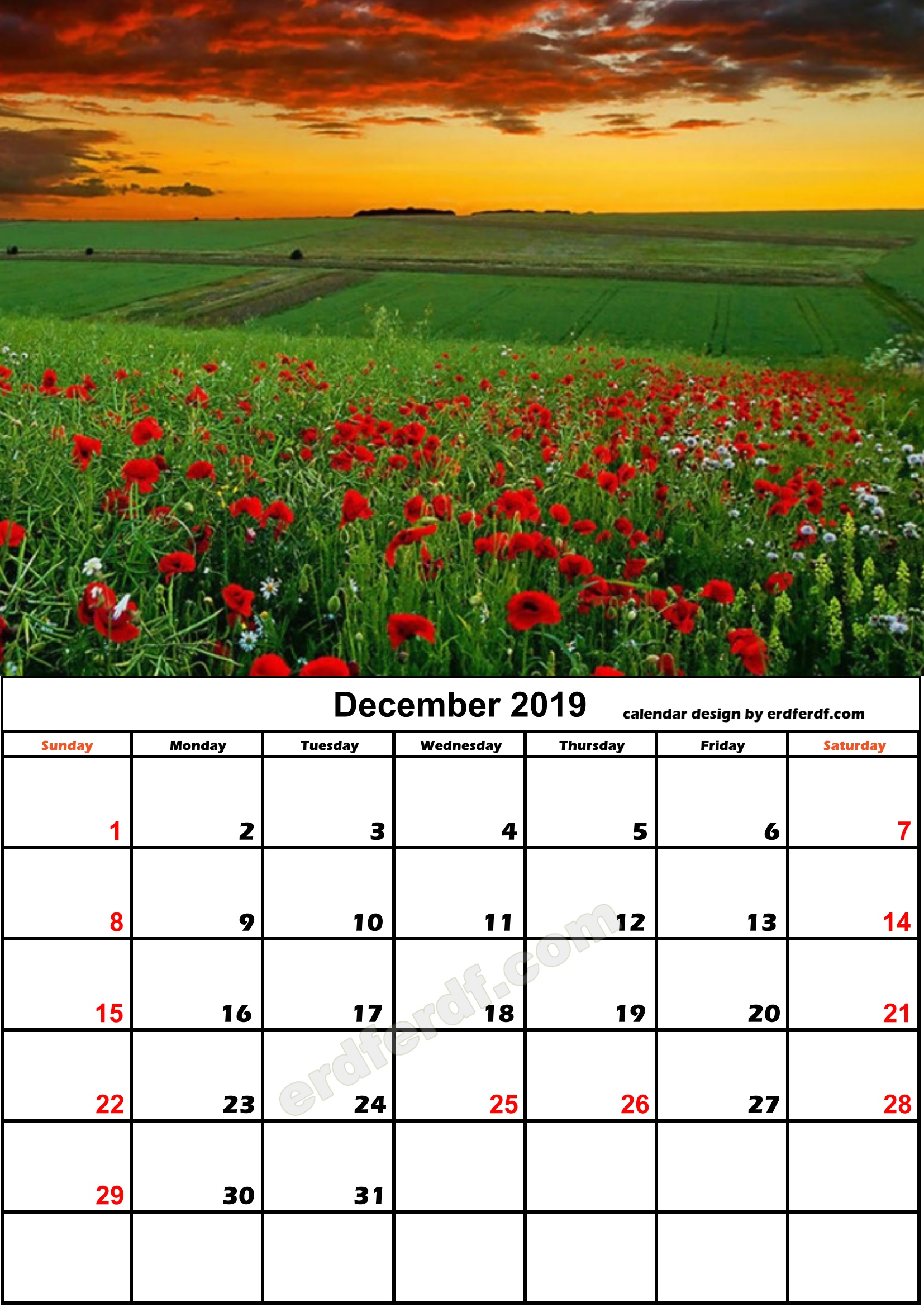 12 December Flower Nature Calendar Monthly 2019 Free Download