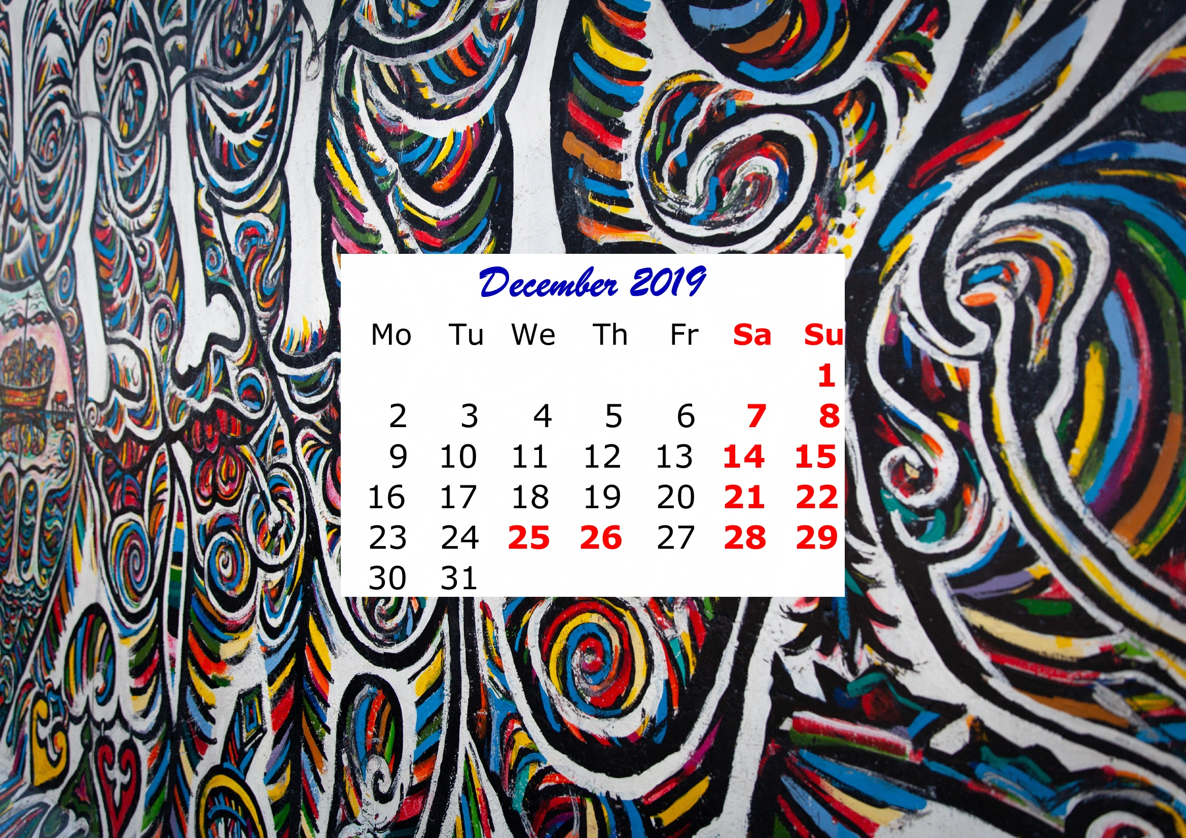 12 December Monthly 2019 Calendar Beautiful Painting Template