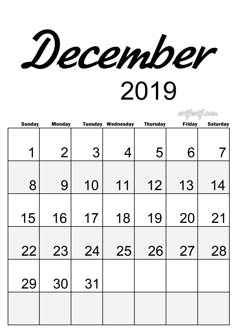 12 December Simple Elegance Calendar 2019 Beautiful Typography