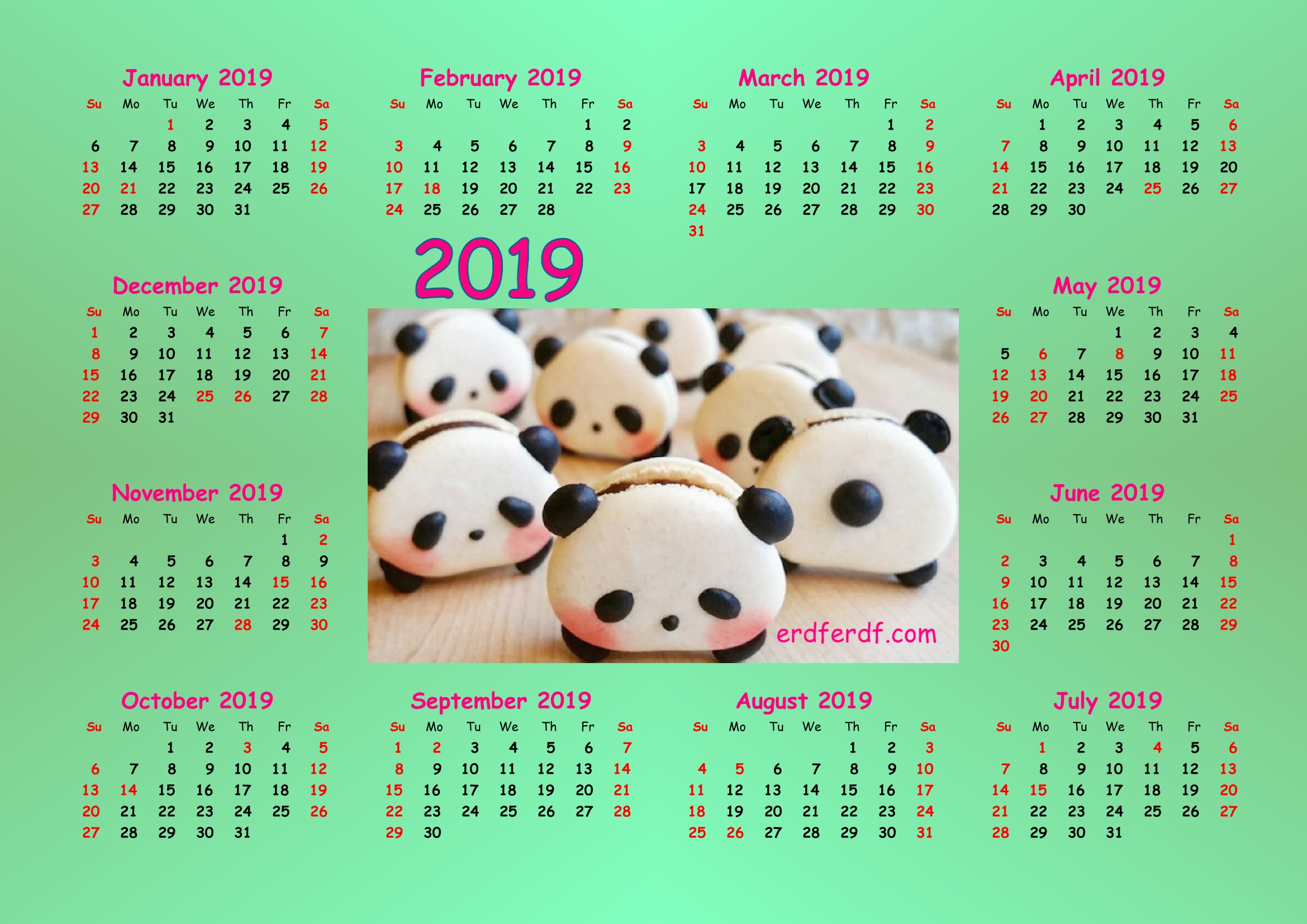 2 Cute Panda 2019 Calendar Printable for Free