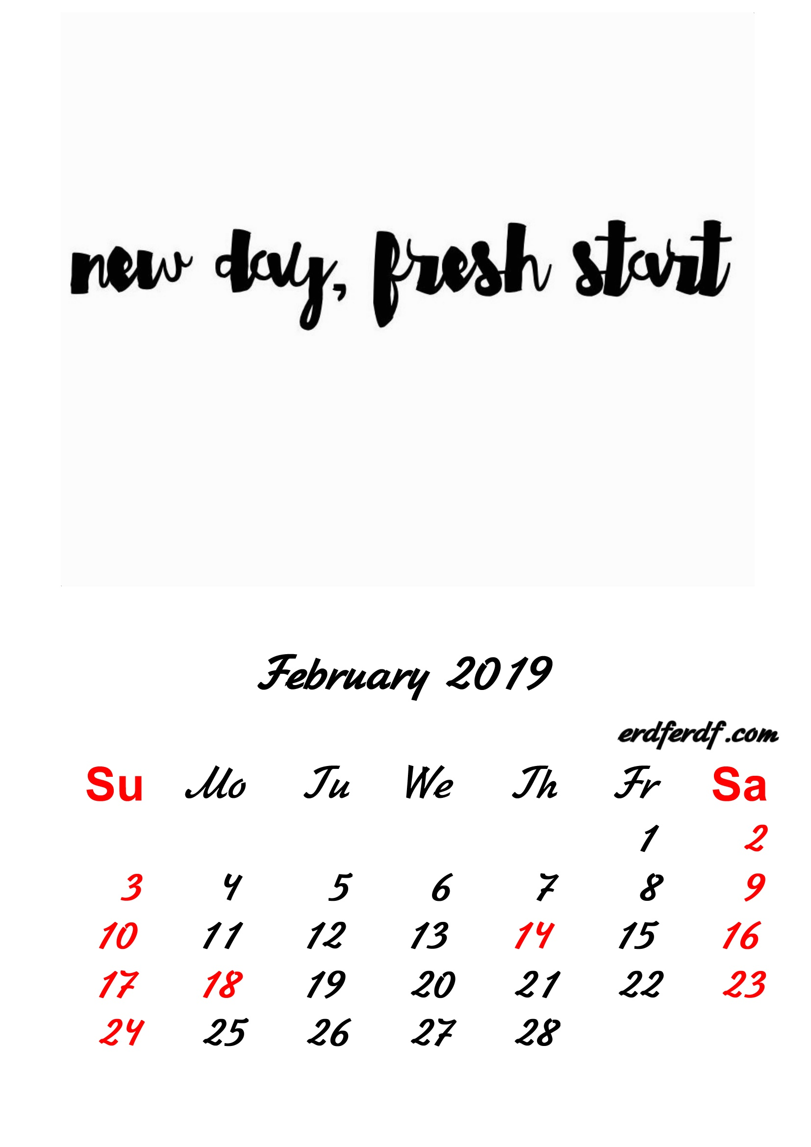 2 February 2019 Inspirational Quotes Pprintable Calendar