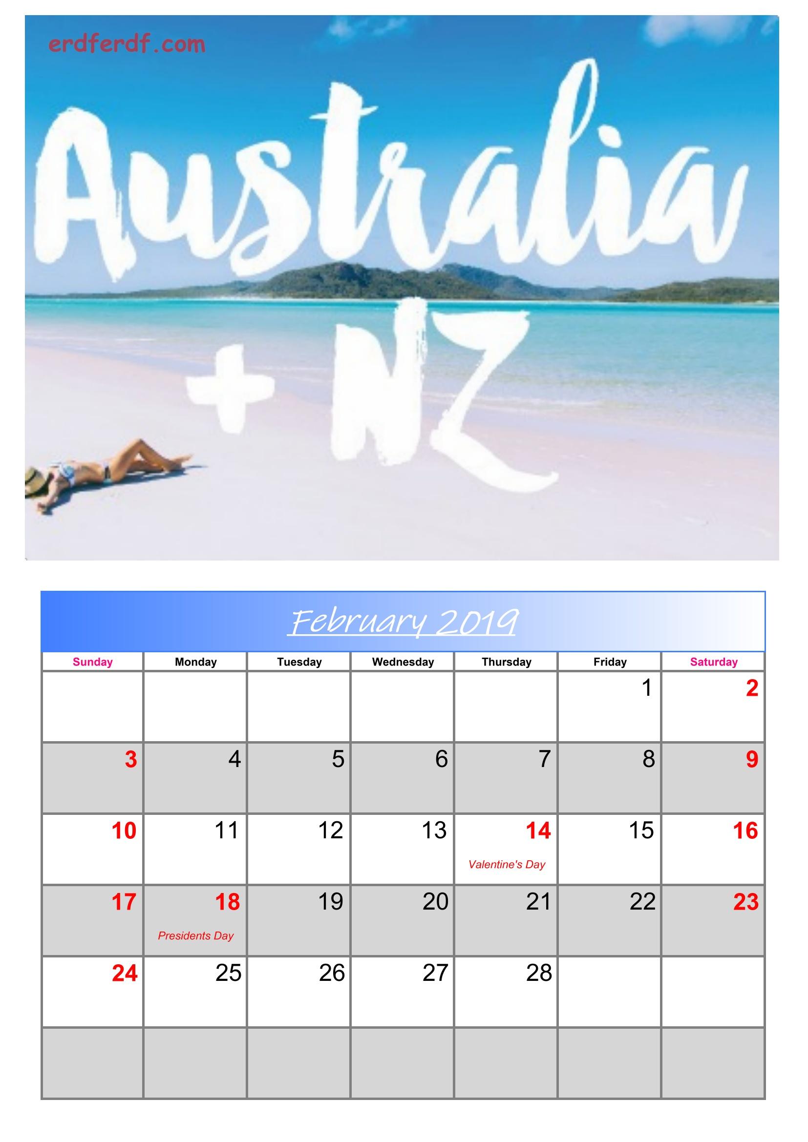 2 February Australia Calendar 2019 With Holidays