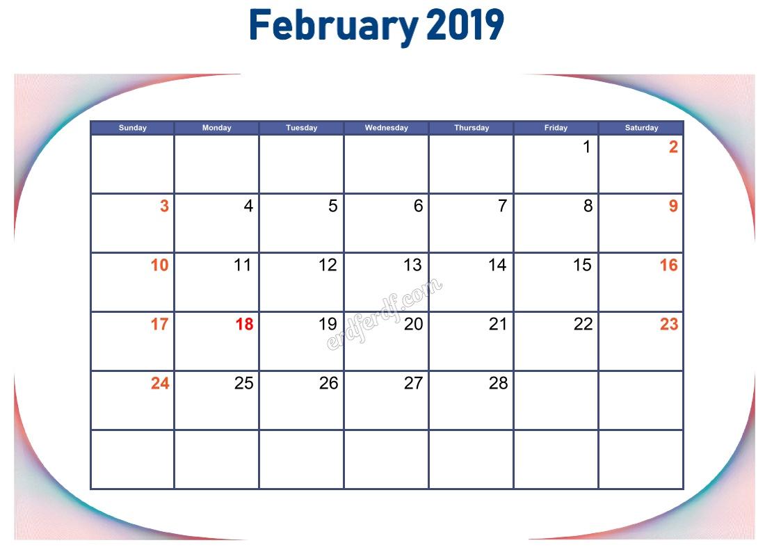 2 February Blank Calendar 2019 To Print